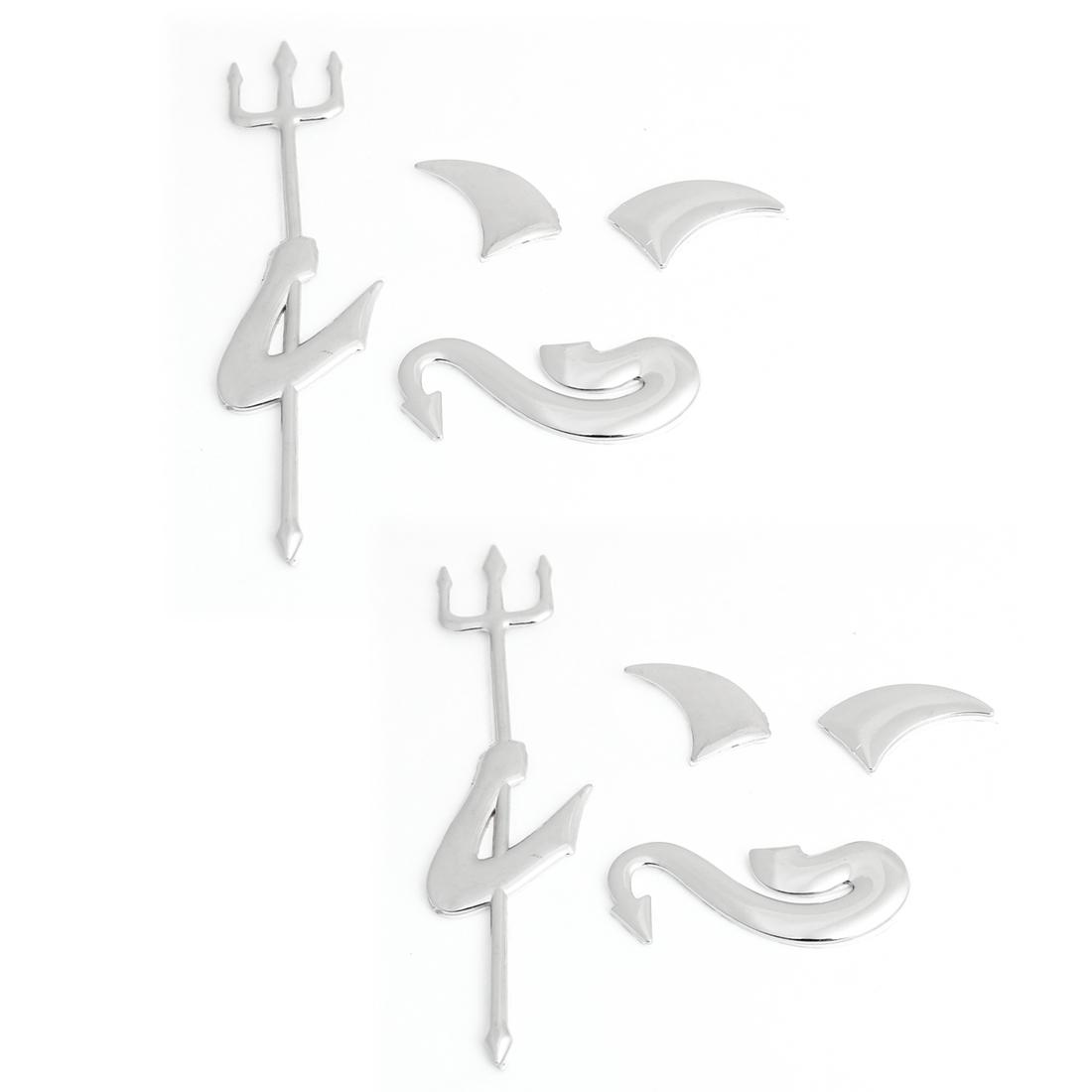 8 in 1 Silver Tone Plastic Demon Design Sticker Ornament for Car