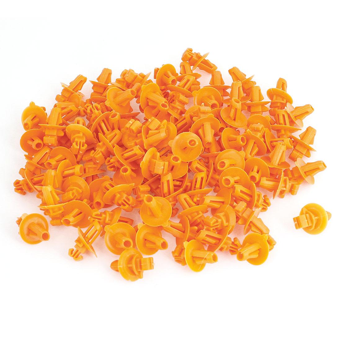 100 Pcs Orange Plastic Rivet Door Push Clips 7mm Hole for Toyota