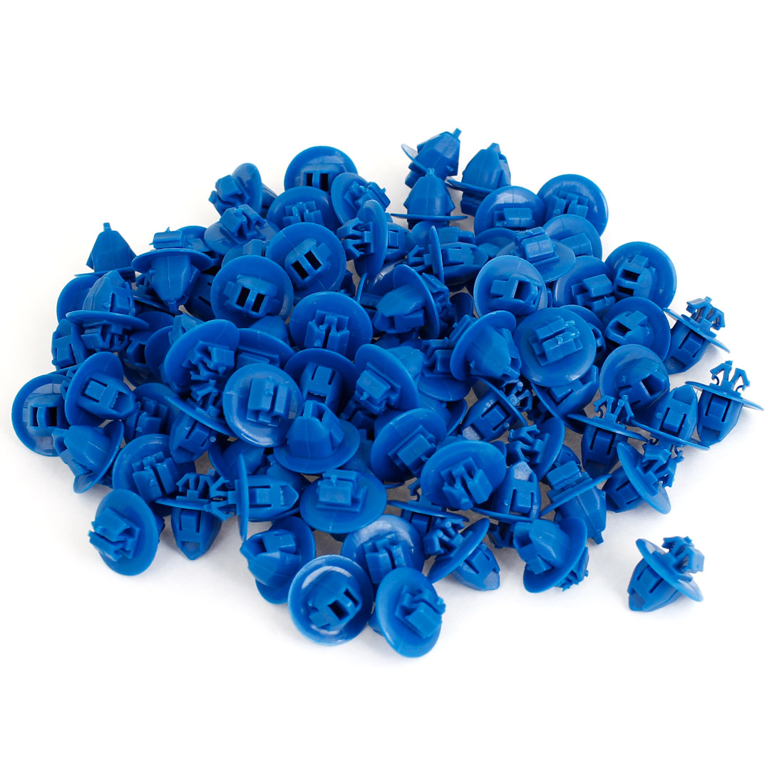 100 Pcs 10mm x 8.2mm Hole Plastic Rivet Door Push Fastener Blue for Toyota