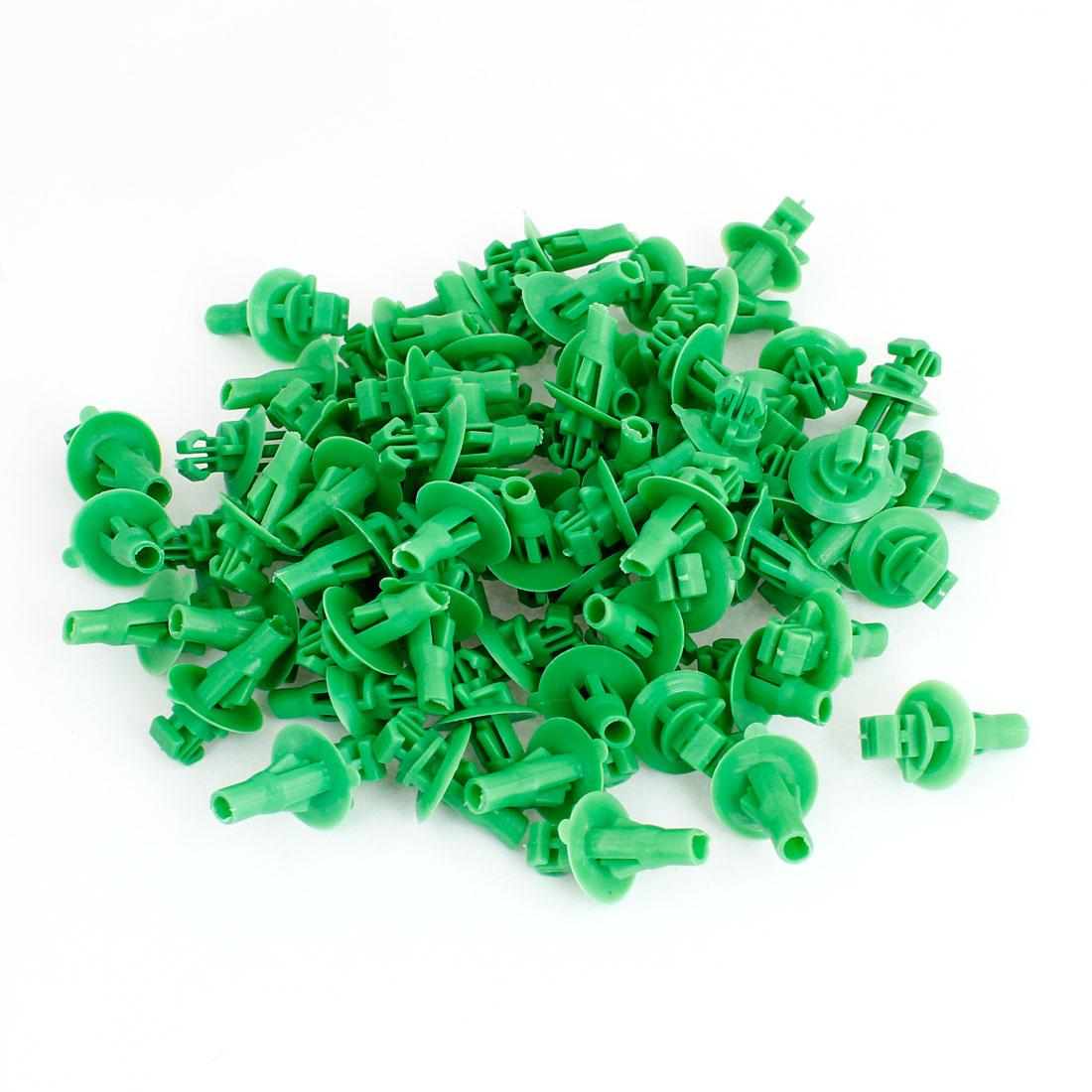 9.5mm x 7.2mm Hole Green Plastic Door Rivet Push Clip 100pcs for Toyota