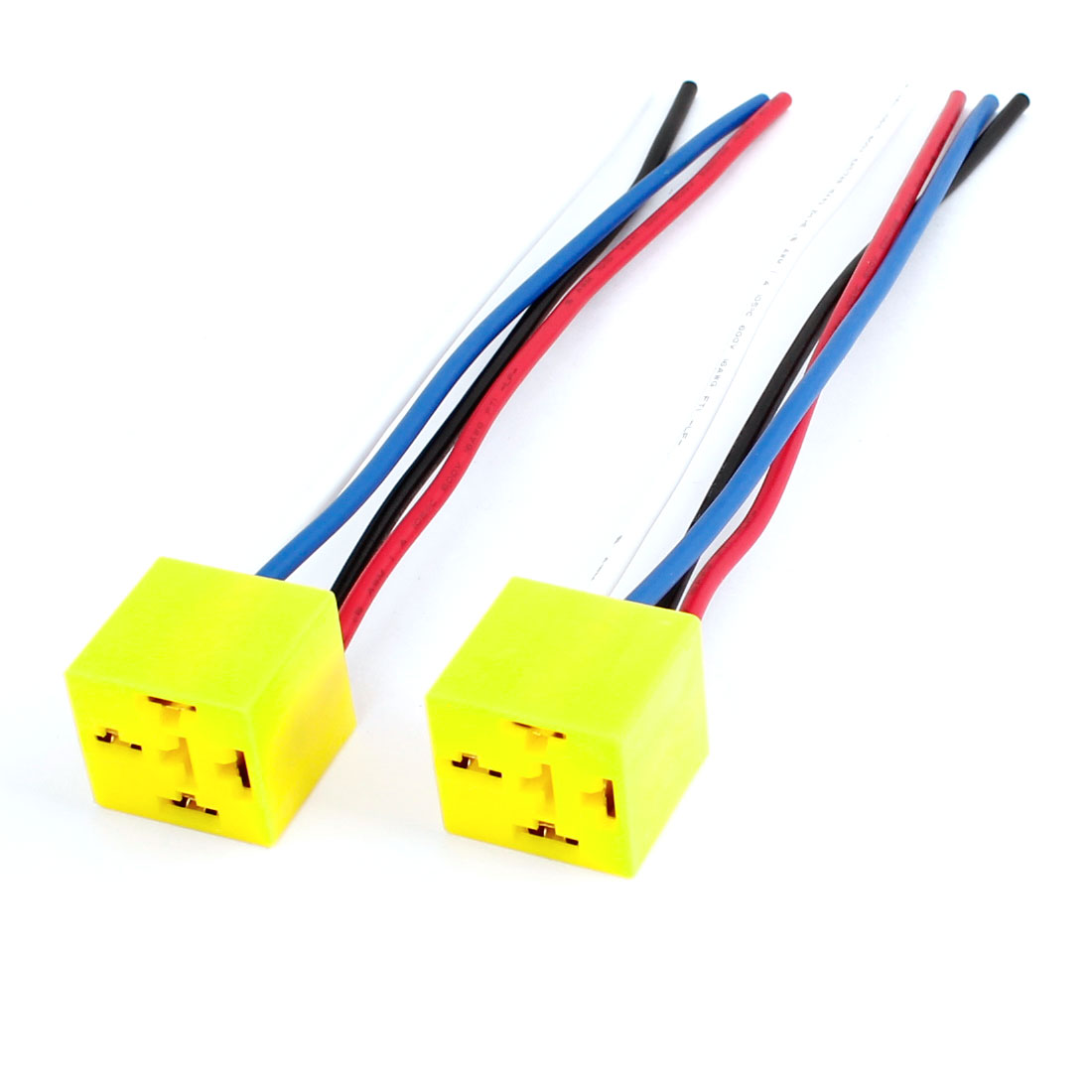2pcs Yellow Plastic Relay Socket Harness 4 Pin 4 Wire for Car