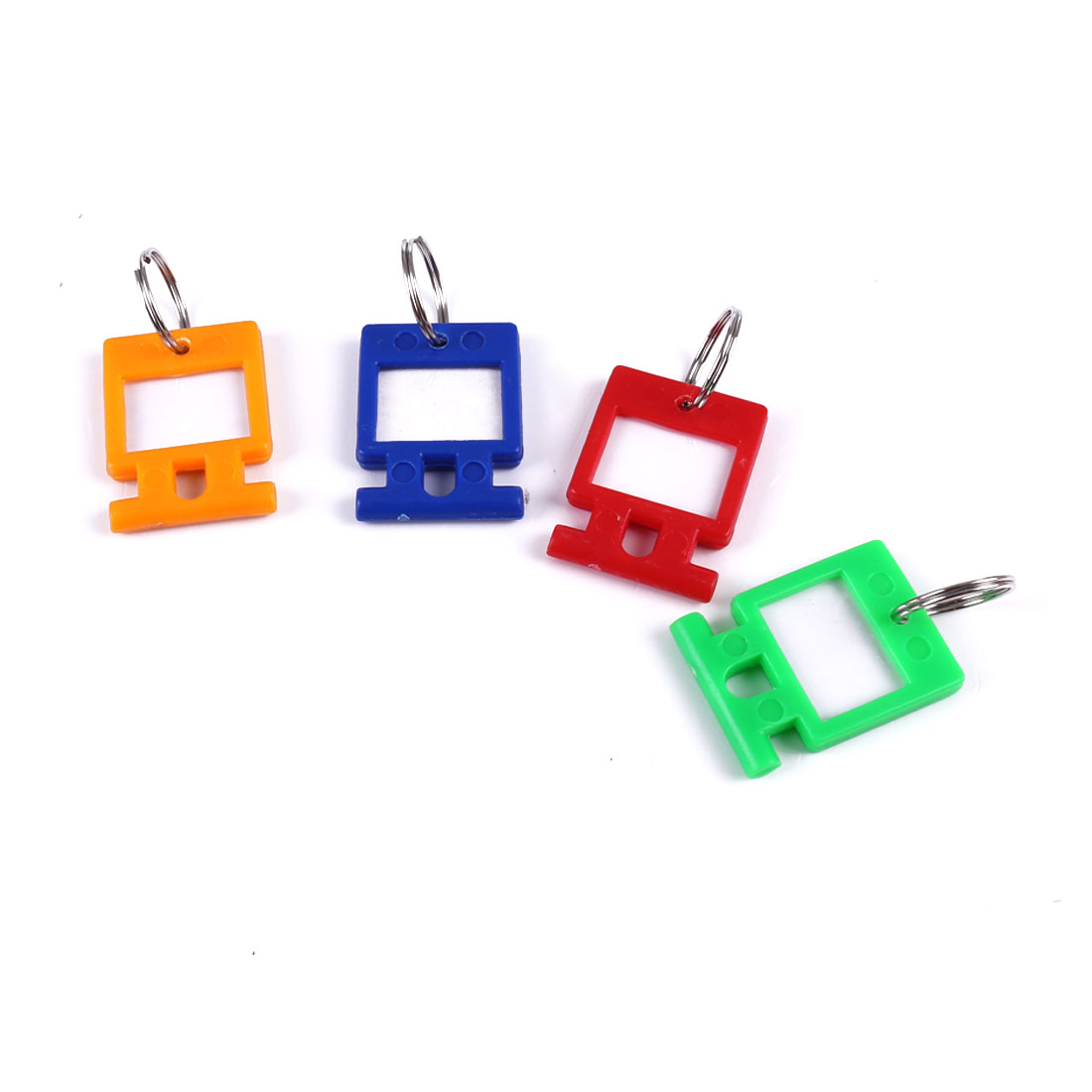 4 Pcs Colorful Plastic Name Tag Badge Clip Holder Keyring