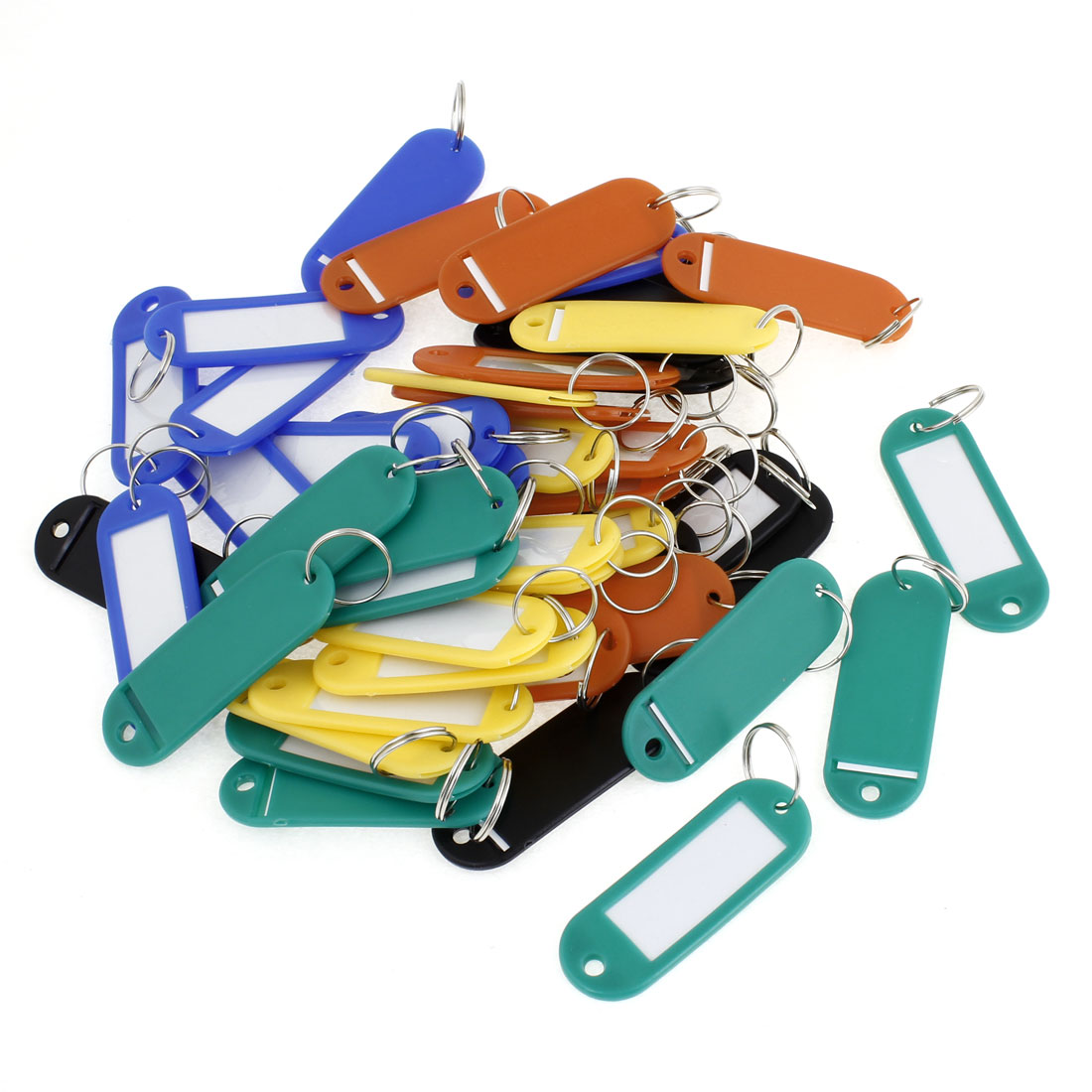 50 Pcs Metal Keychain Assorted Color Plastic Name Tag Badge Clip Holder Keychain