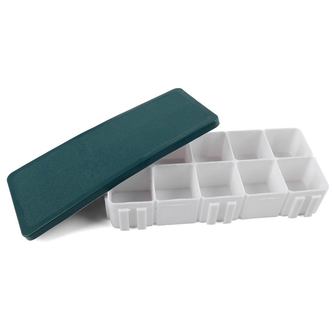 White Plastic 10 Compartments Storage Case Box w Dark Green Rubber Cover