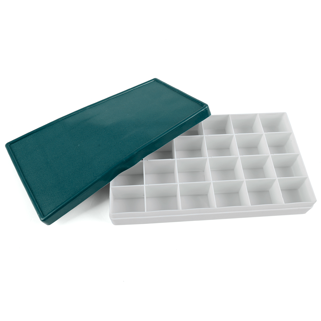 24 Compartments Plastic Storage Case Box White w Dark Green Rubber Cap