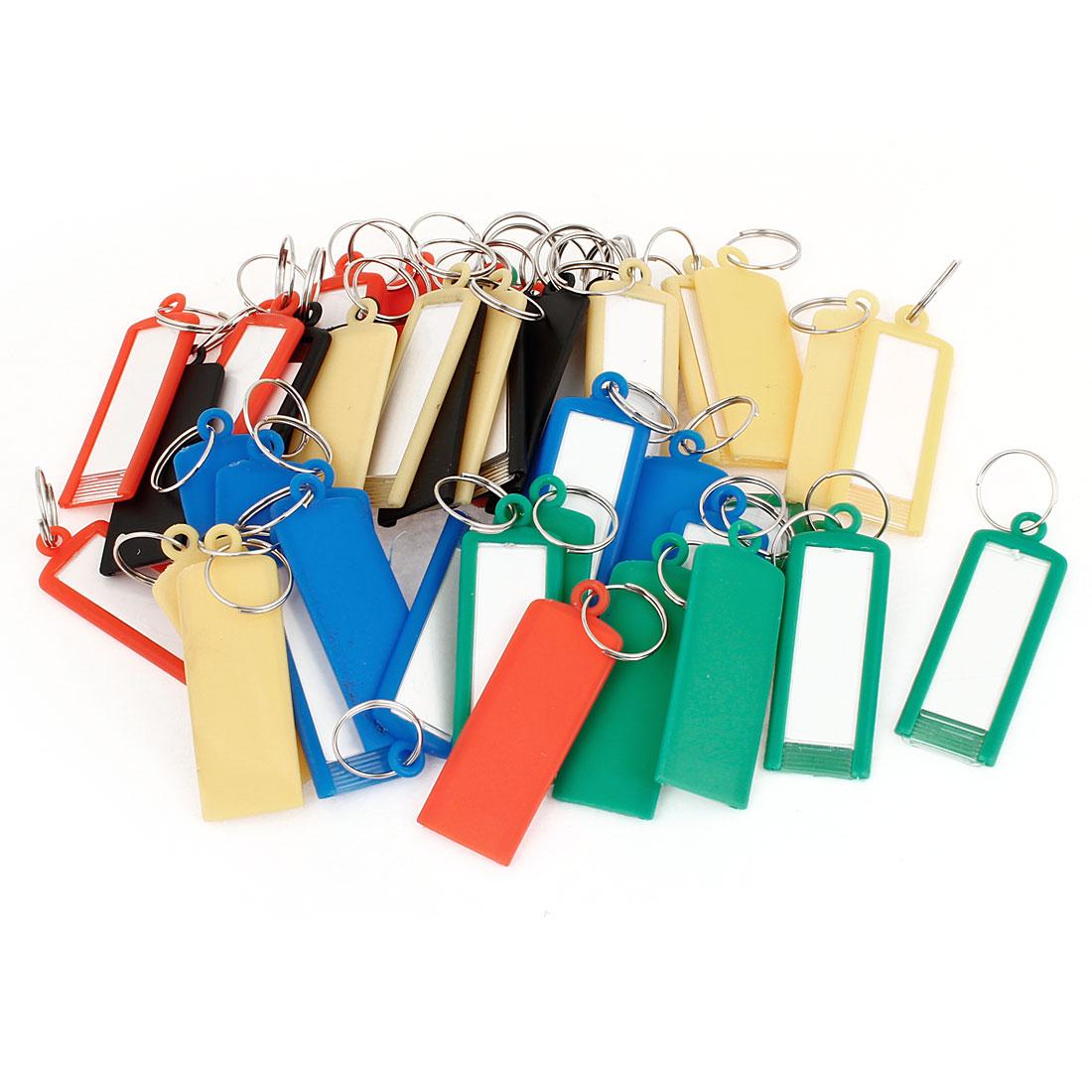 Barber Salesman Colorful Plastic Name Tag Badge Clip Holder Keyring 50Pcs
