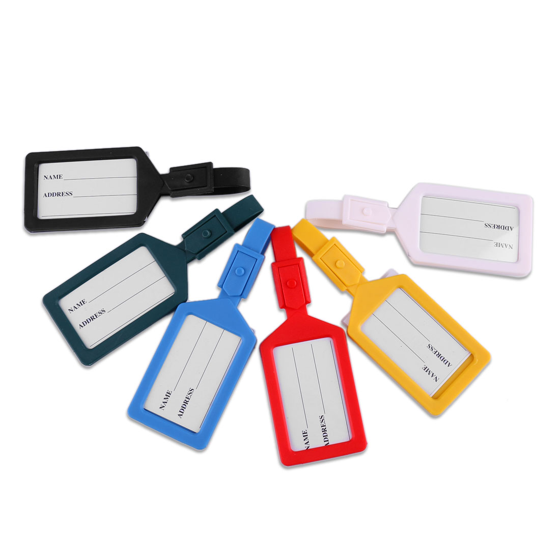 6 Pcs Assorted Color Plastic Name Address Tag Label for Suitcase