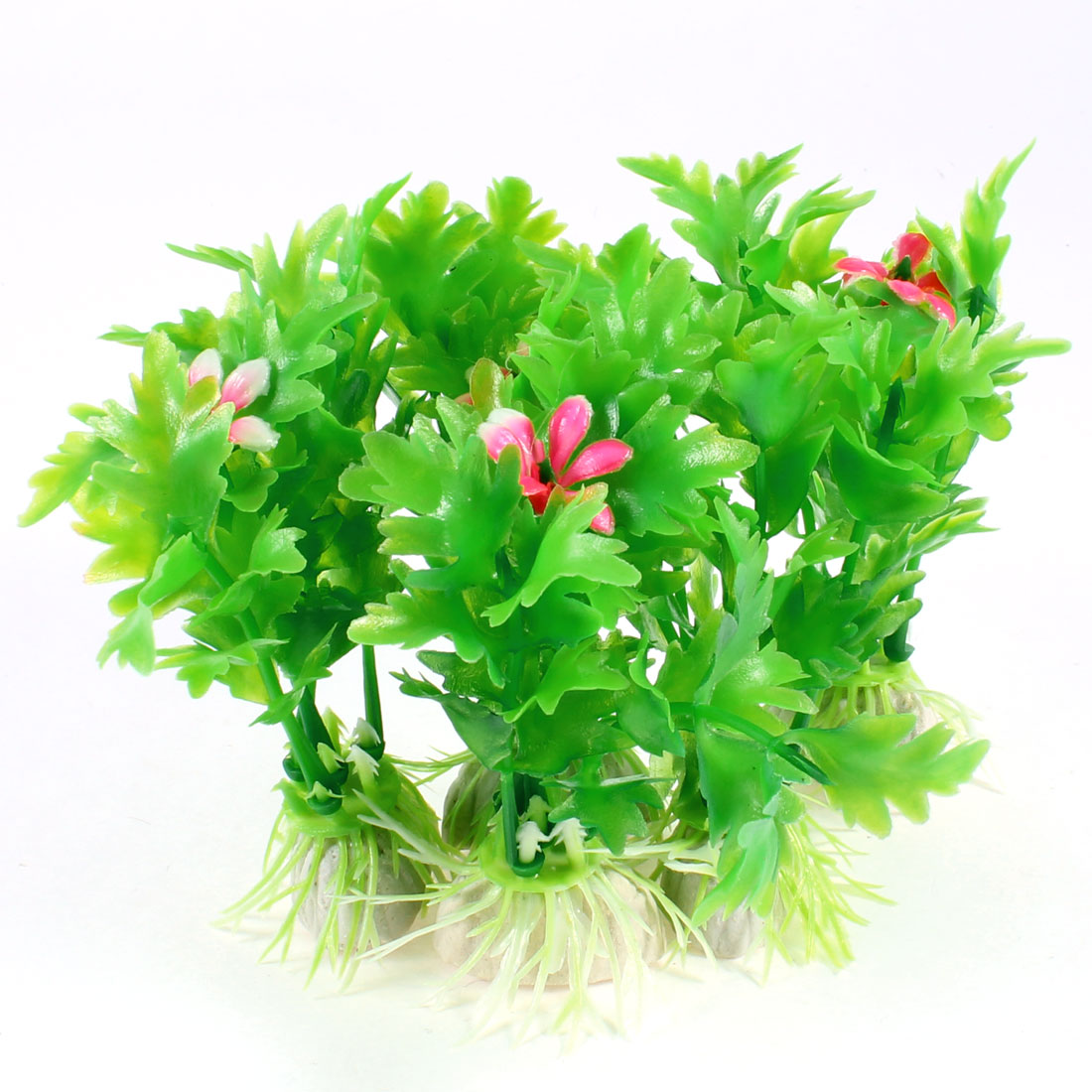 5 Pcs Plastic Water Grass Green Leaves Red Flower for Fish Tank Aquarium
