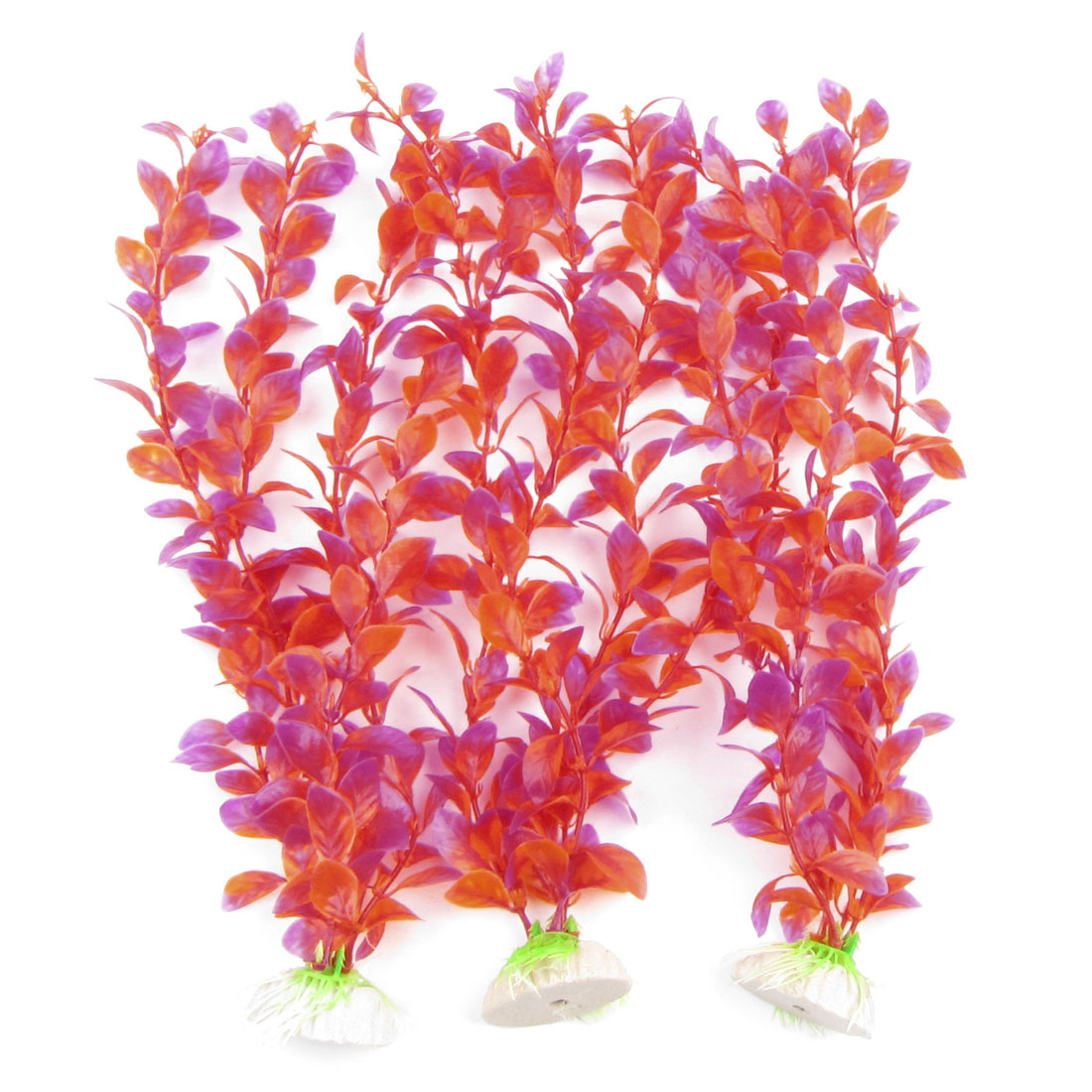 Fish Tank Fuchsia Red Plastic Emulation Aquatic Water Grass 3 Pcs