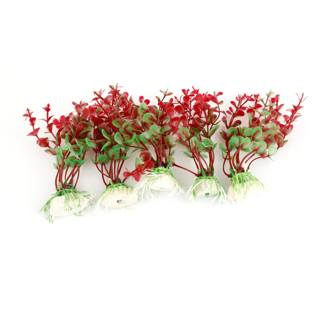 "Red Green Plastic Underwater Grass Decor 4.3"" Height 5 Pcs for Aquarium Fish Tank"