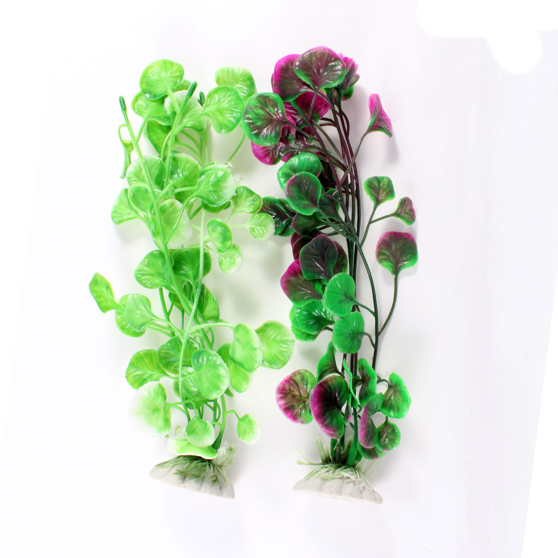 "2 Pcs Green Purple Artificil Water Plants Decoration 8.7"" High for Aquarium"