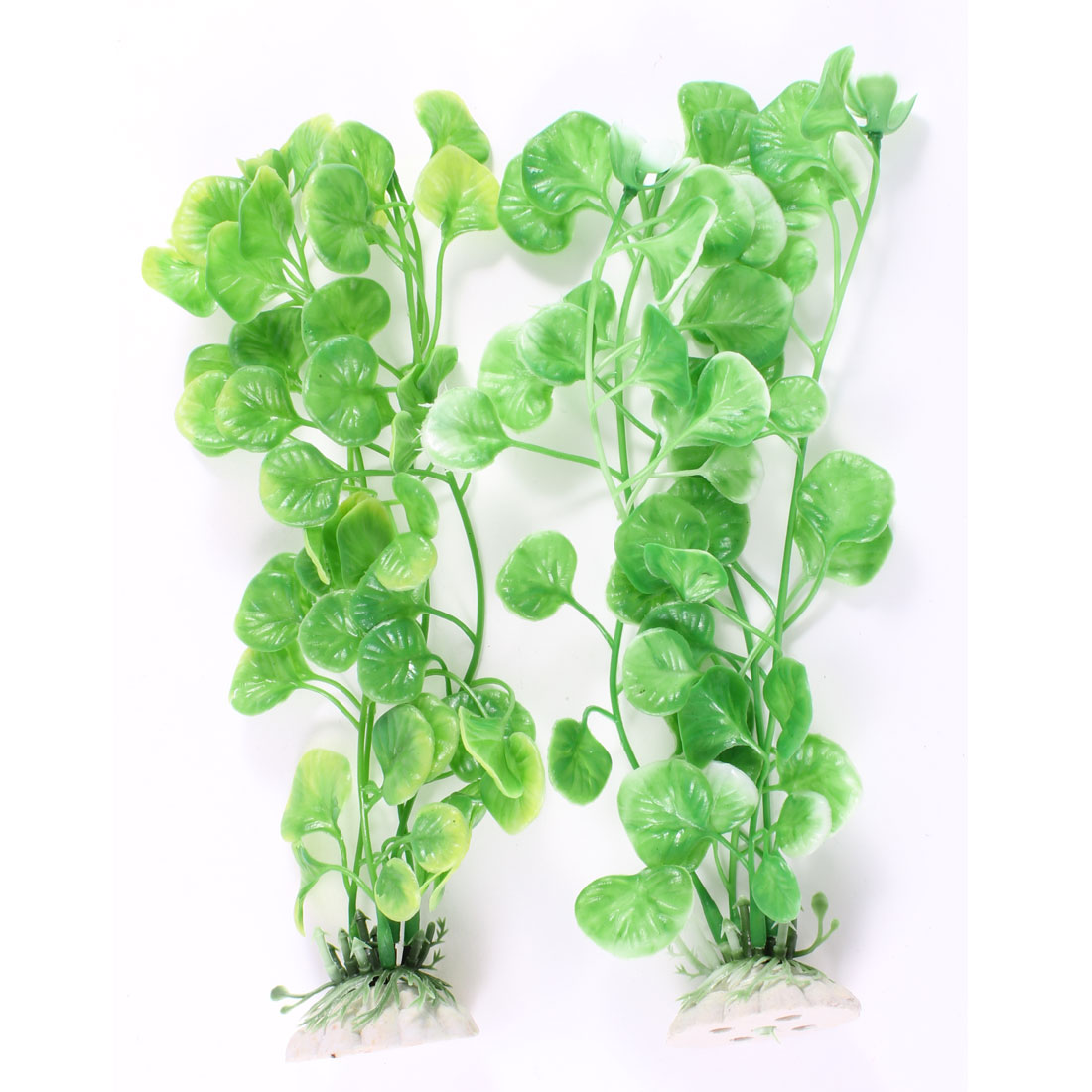 "2 Pcs Green Yellow Emulational Water Plants Ornament 8.7"" High for Fish Tank"