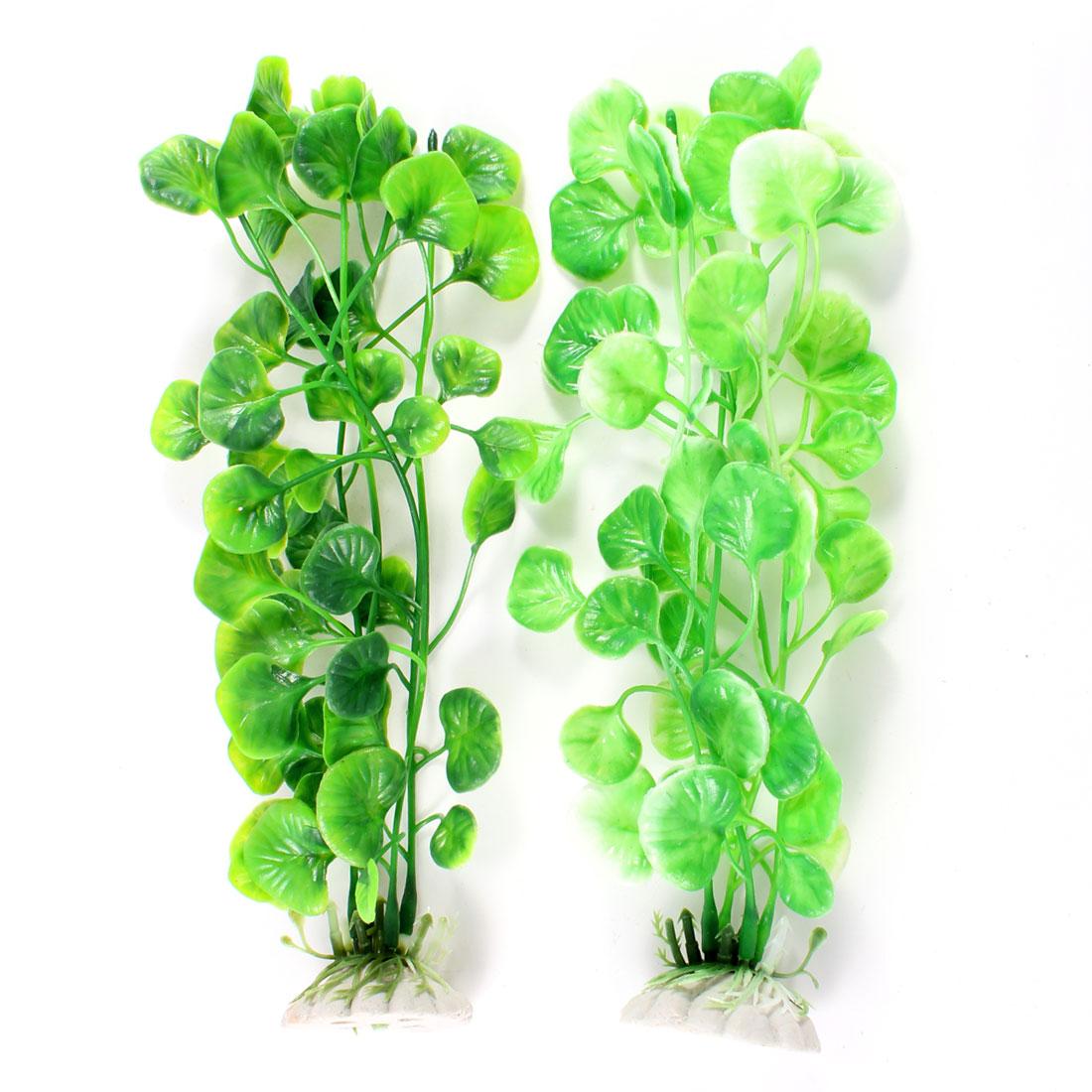 "2 Pcs Green Plastic Water Grass Decoration 8.7"" High for Aquarium"