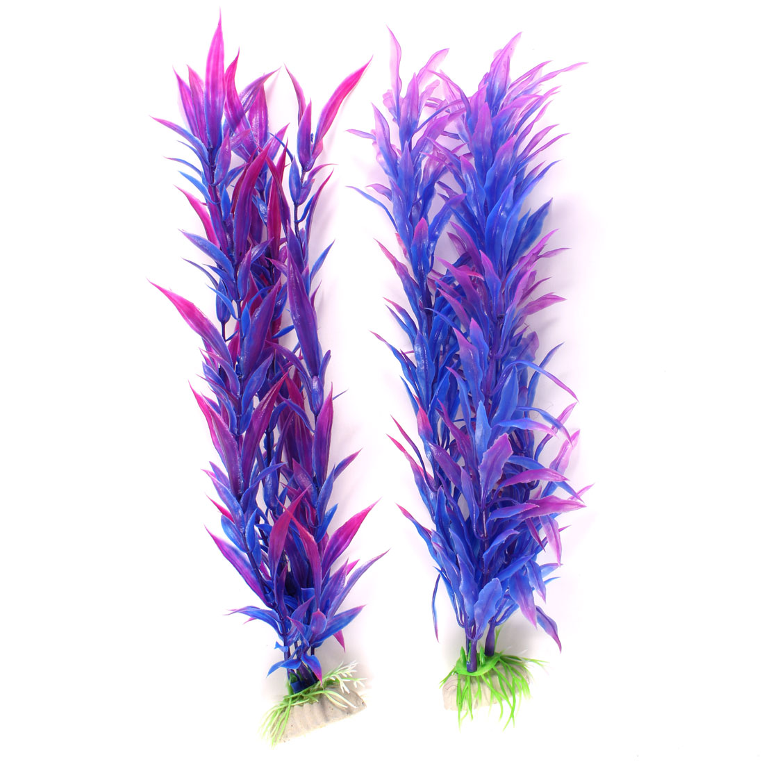 "2 Pcs 11"" High Fuchsia Blue Man-made Plastic Water Plants for Fish Tank"