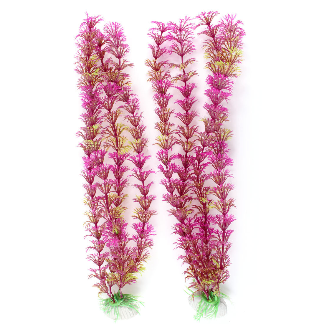 2Pcs Fuchsia Green Plastic Artificial Grass for Fish Tank Aquarium