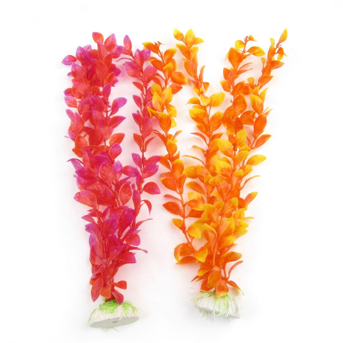 2 Pcs Fish Tank Aquariums Emulation Orange Red Plastic Water Plant Ornament