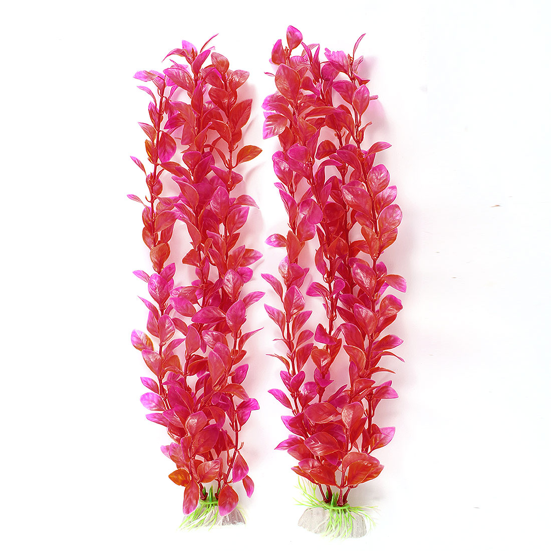 "2 Pcs Fushcia Red Plastic Water Plant Decoration 12.2""High for Aquarium"