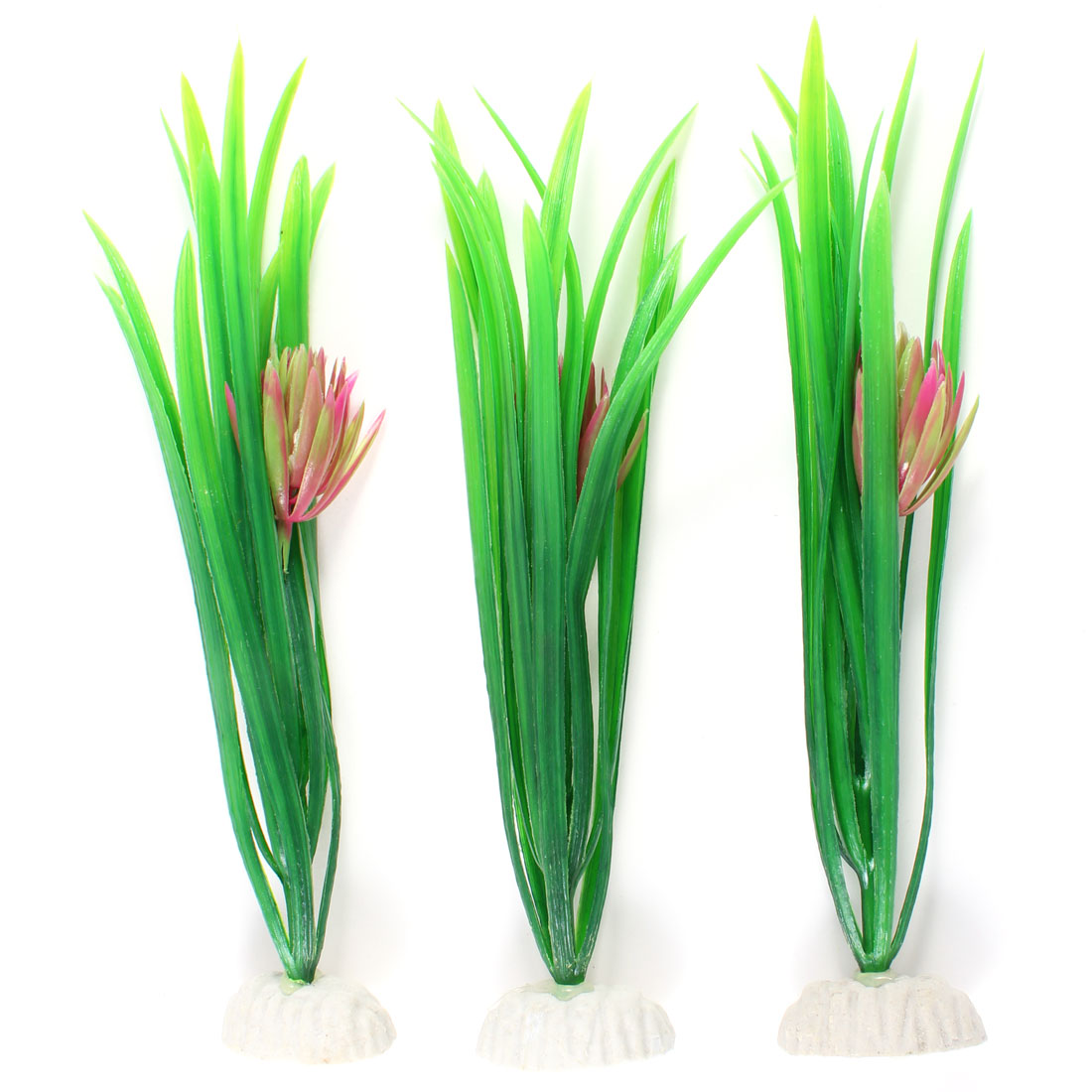 "3 Pcs Green Plastic Water Plants Decoration 9"" High for Fish Tank"