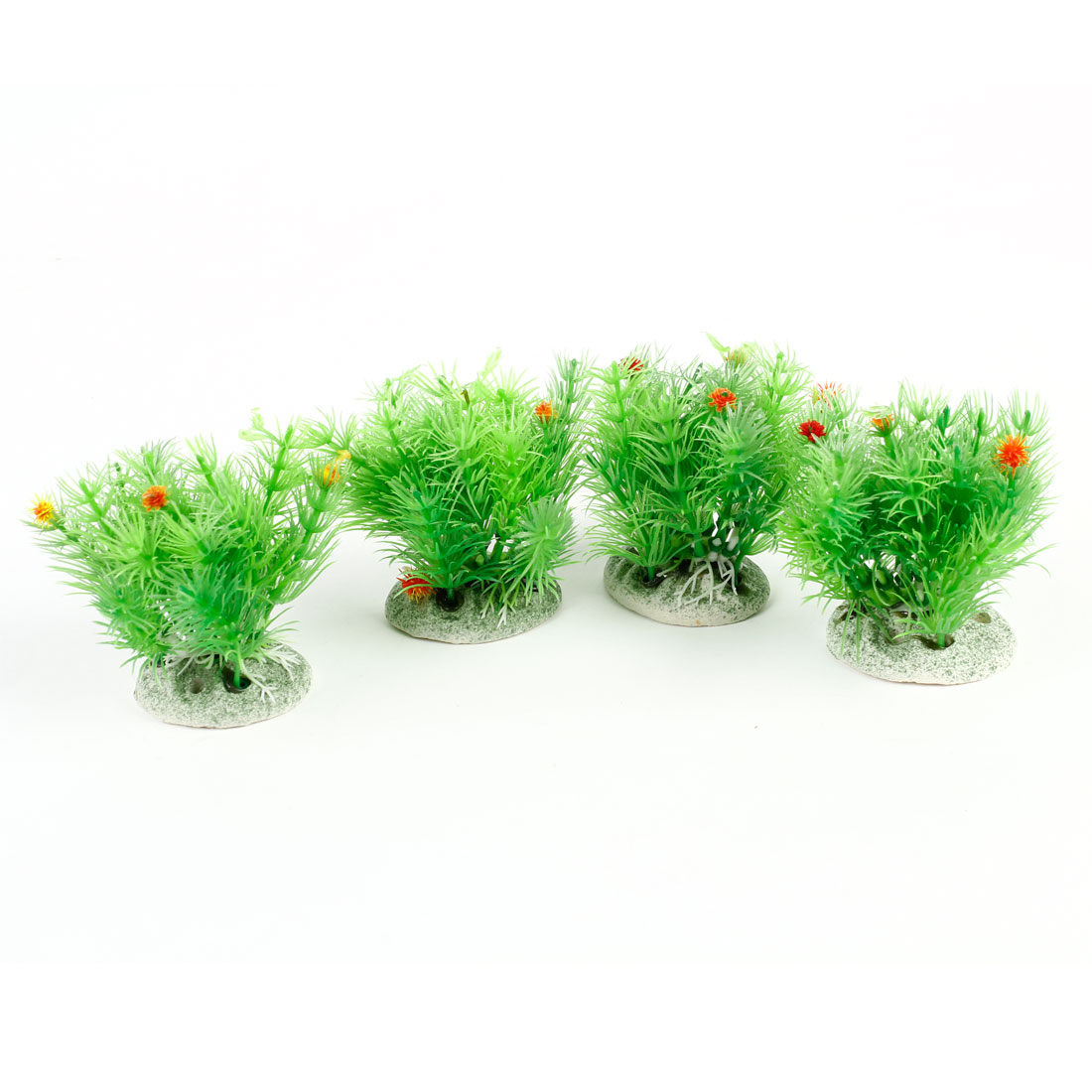 4 Pcs Flowers Decor Green Plastic Aquariums Water Plant Ornament for Fish Tank