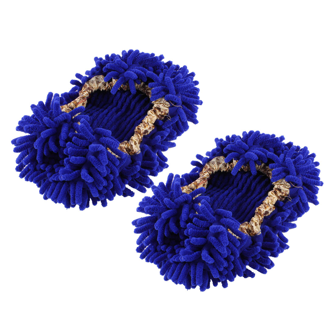 Home Floor Dust Cleaning Microfiber Stretchy Cuff Mop Slippers Shoes Royal Blue Pair