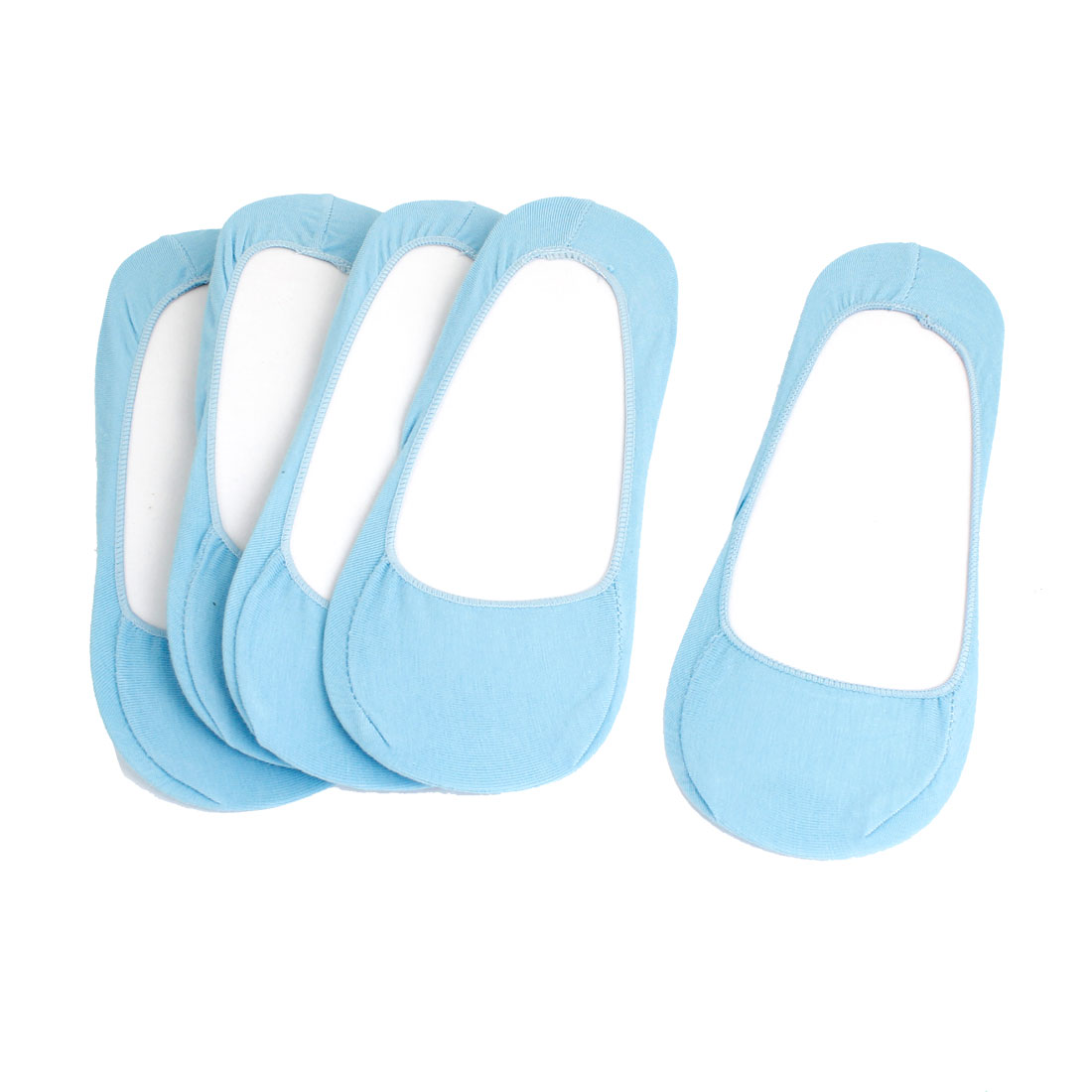 Ladies Baby Blue Stretchy Summer Footsie Boat Socks 5 Pairs