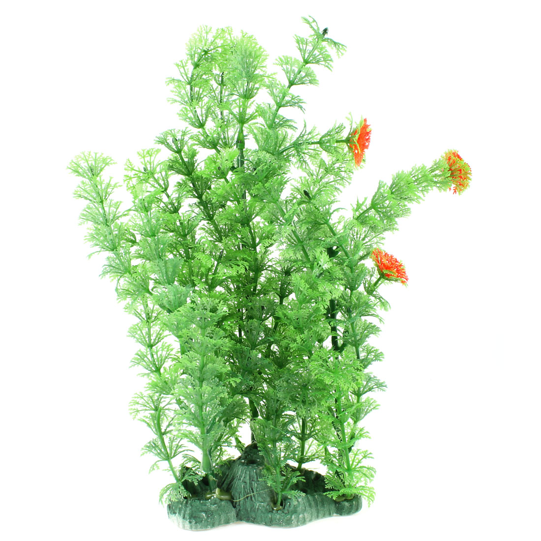 "11.8"" High Green Orange Red Plastic Plants Grass for Fish Tank"