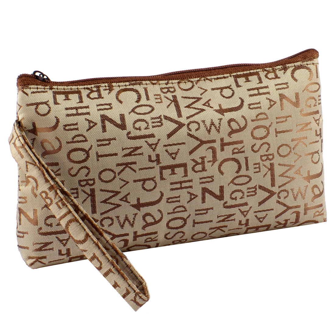 Zippered Letters Pattern Brown Gray Cosmetic Makeup Bag Purse w Wrist Strap