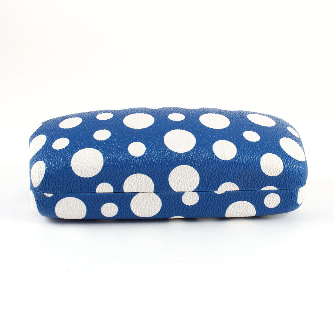 White Dot Print Faux Leather Coated Metal Eyeglasses Case Box Blue