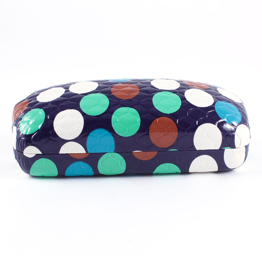 Spring Hinge Closure Colorful Dot Print Glasses Case Eggplant Color