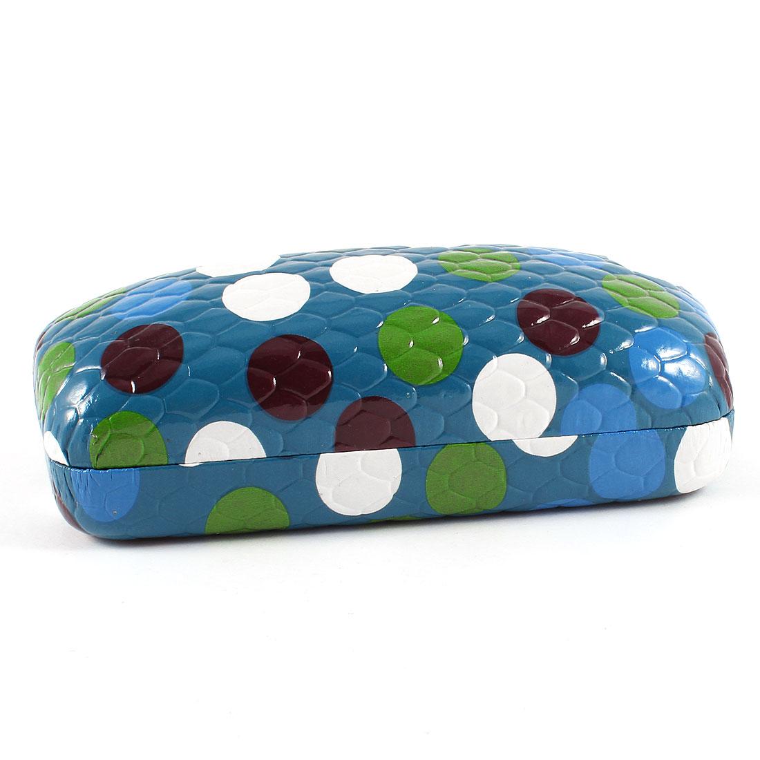 Teal Blue Colorful Dot Pattern Metal Case Box for Eyeglasses