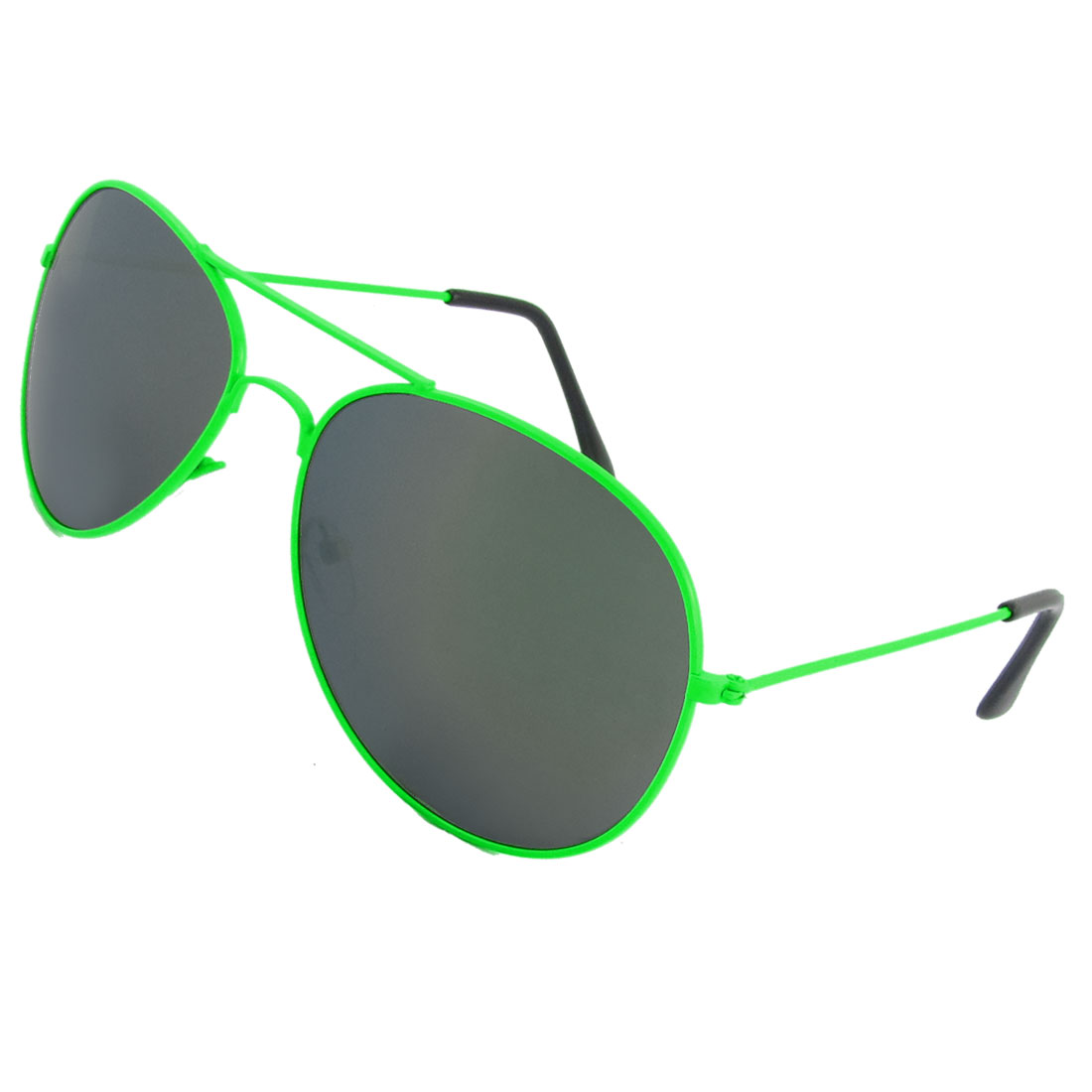 Woman Accessory Tinted Lens Metal Rimmed Sunglasses Lawn Green