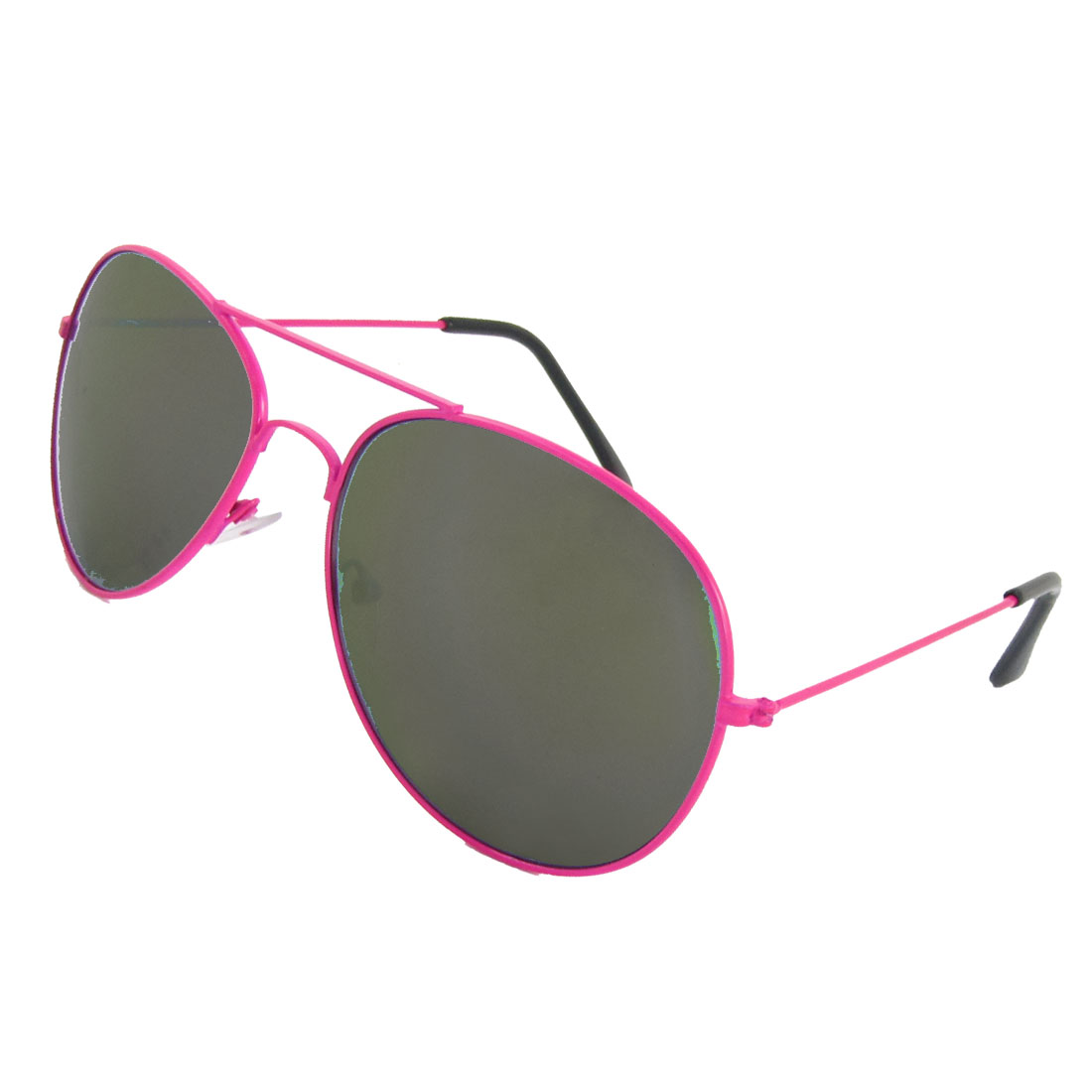 Woman Accessory Tinted Lens Metal Rimmed Sunglasses Fuchsia