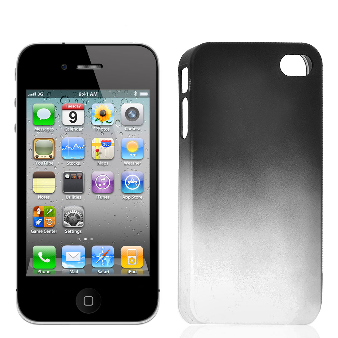 Dark Gray Gradually Plastic Phone Back Cover Case for iPhone 4 4G 4S