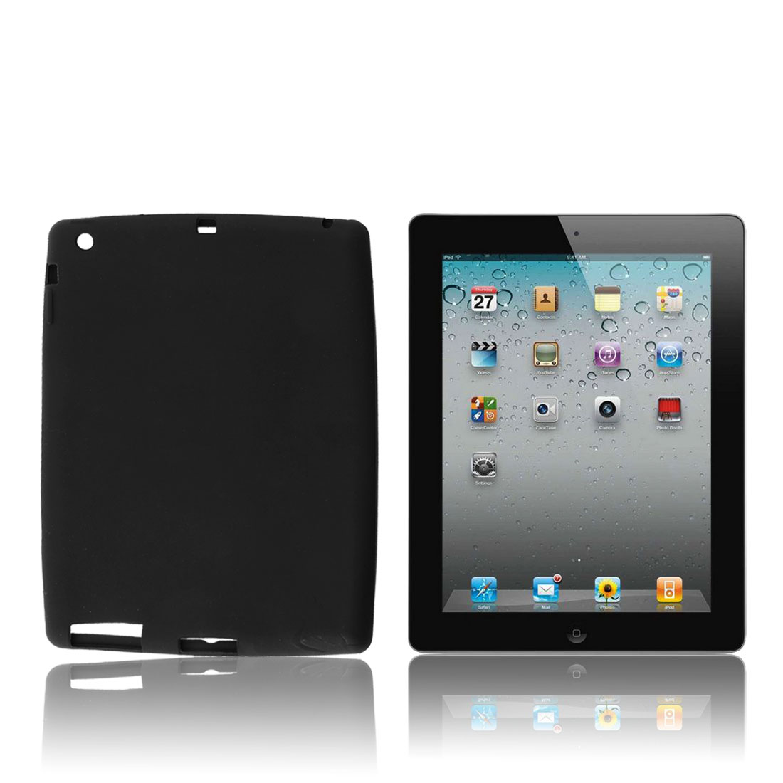 Silicone Skin Black Protective Case Cover for Apple iPad 2 3 4