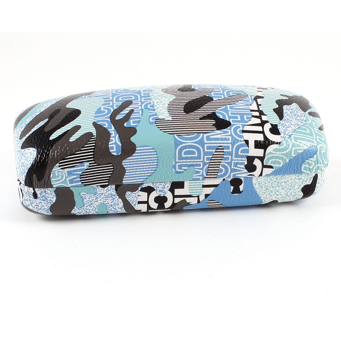 Letter Novelty Pattern Metal Case Box Light Blue Black for Eyeglasses
