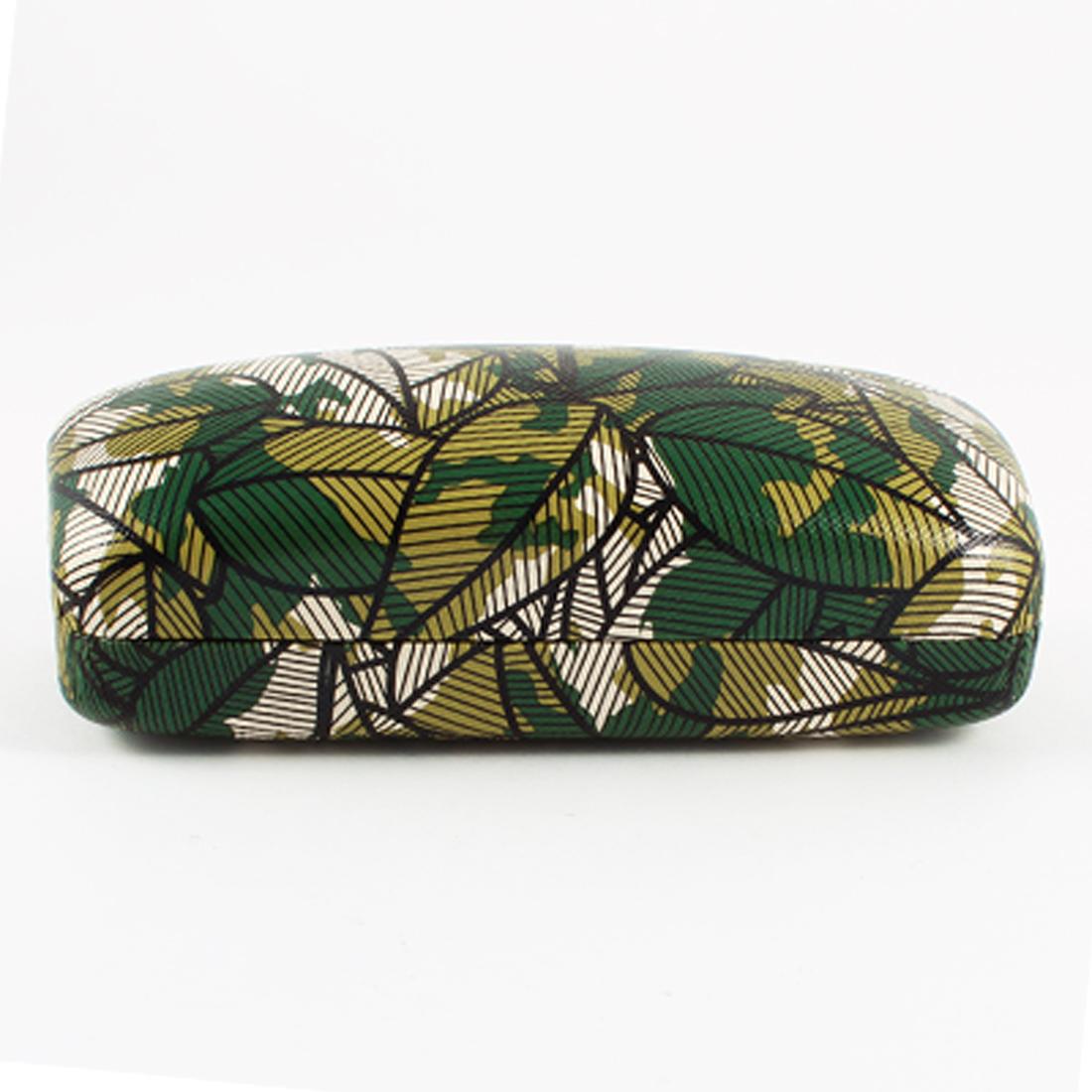 Black Stripe Pattern Metal Flannel Lining Box Case Olive Green for Eyeglasses