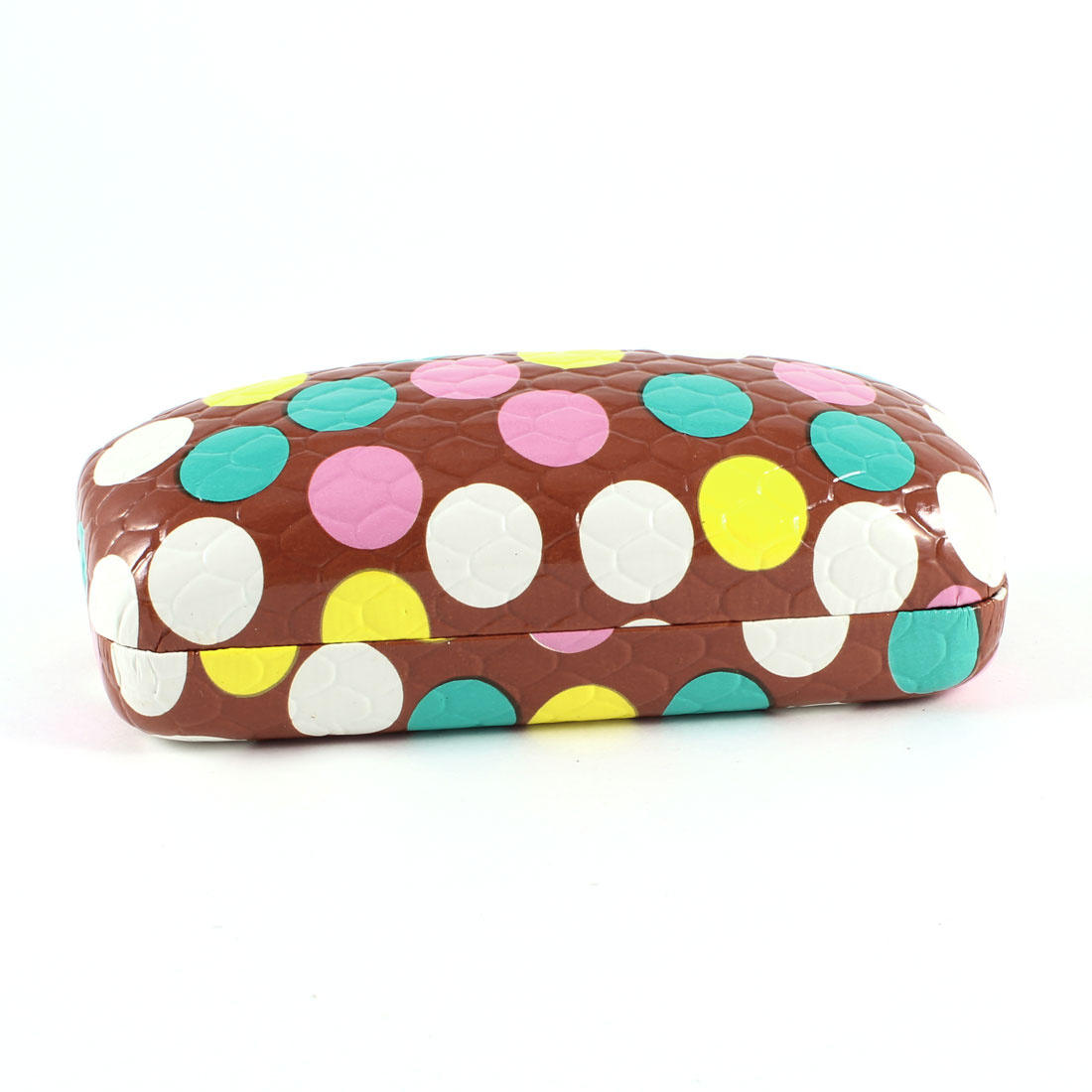 Spring Hinge Closure MultiColor Dot Print Flannel Lining Glasses Case Dark Red