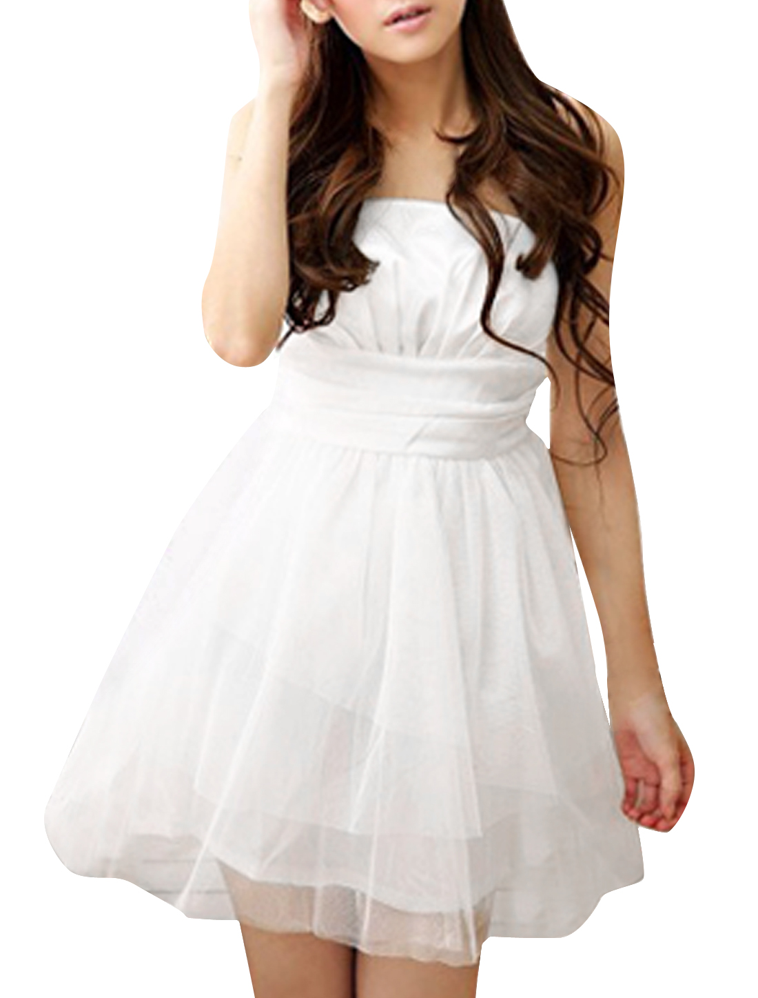 Lady Pure White Color Smocked Elastic Back Ball Gowm Mini Dress L