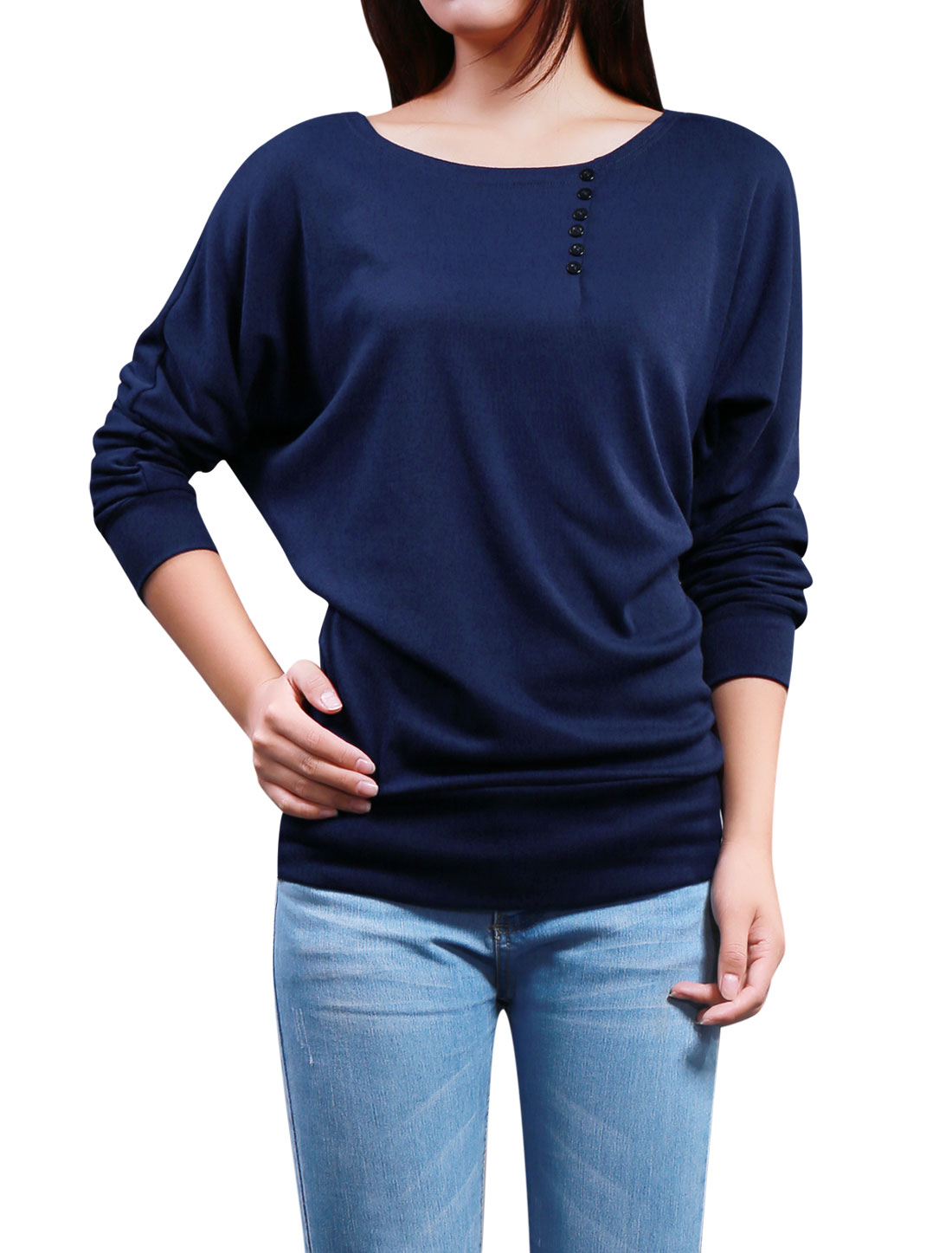 Lady Batwing Sleeves Boat Neck Button Decor Front Top Dark Blue XS