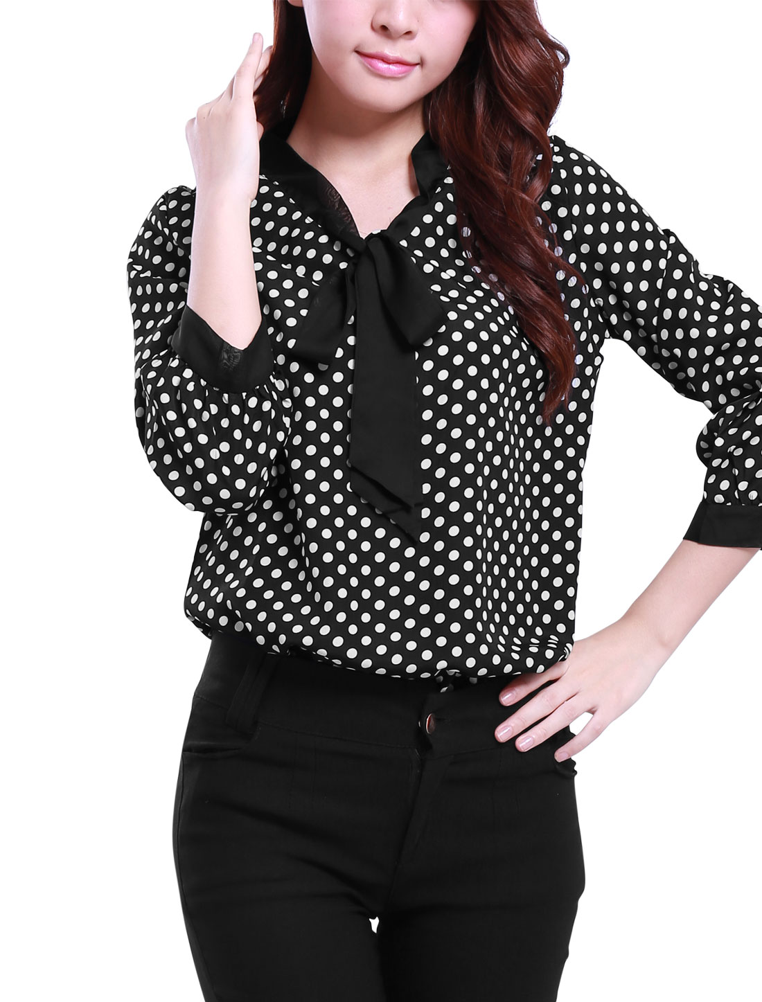 Woman 3/4 Sleeves Tie-Bow Neck Polka Dots Prints Blouse Black M