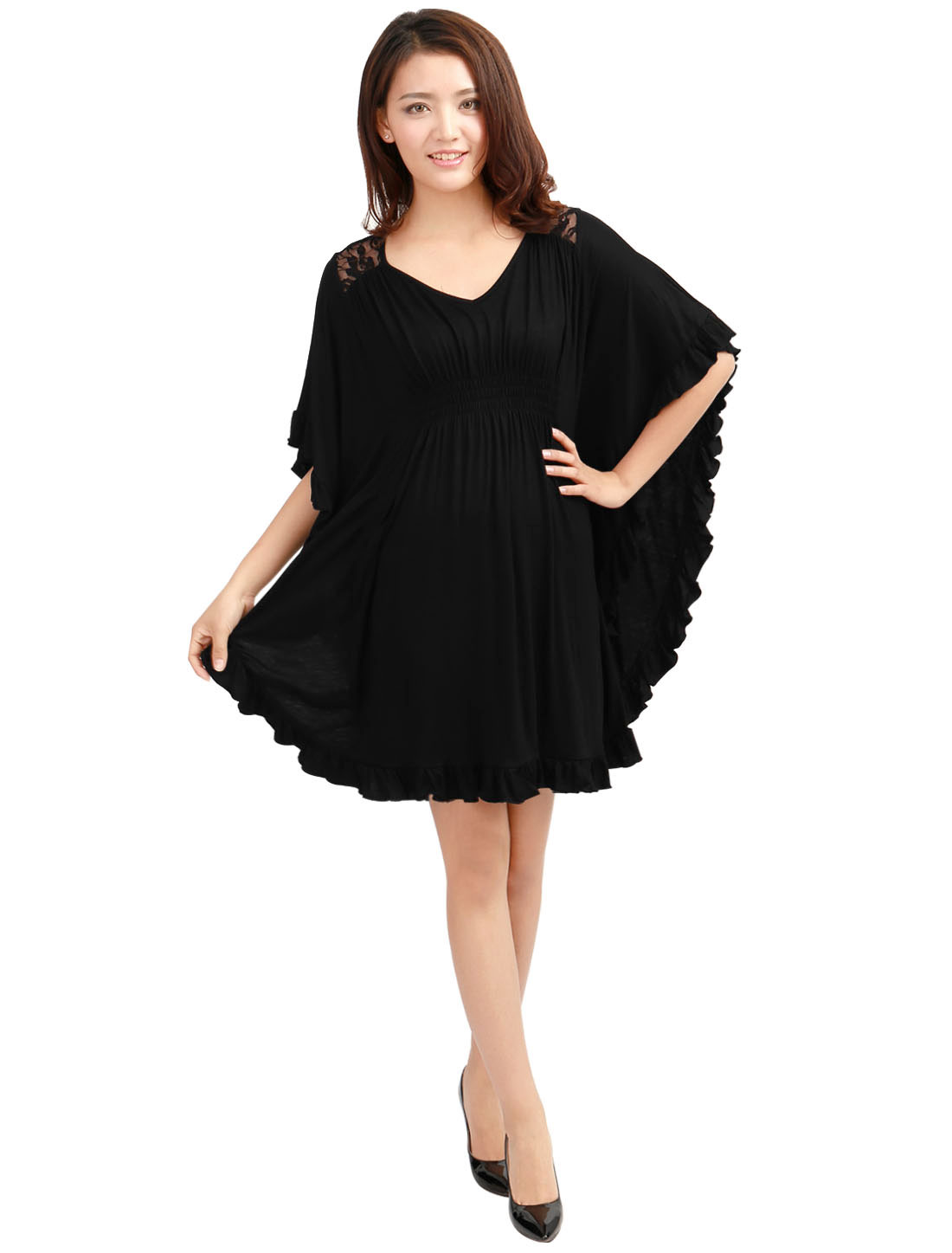 Pullover Stretchy Elastic Waist Ruffled Hem Black Mini Dress for Lady XL