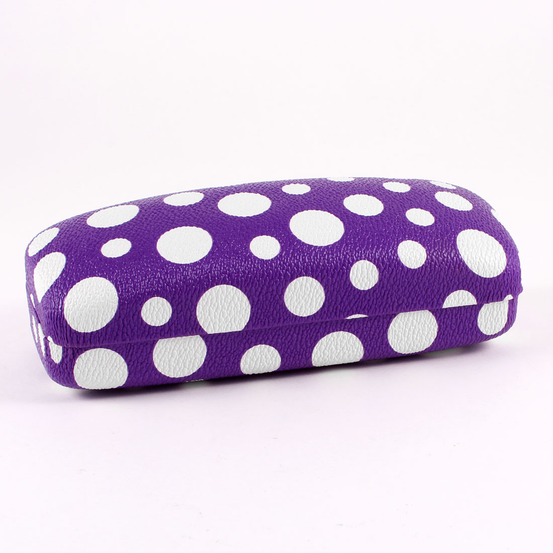 White Dot Print Faux Leather Coated Metal Eyeglasses Case Box Dark Purple