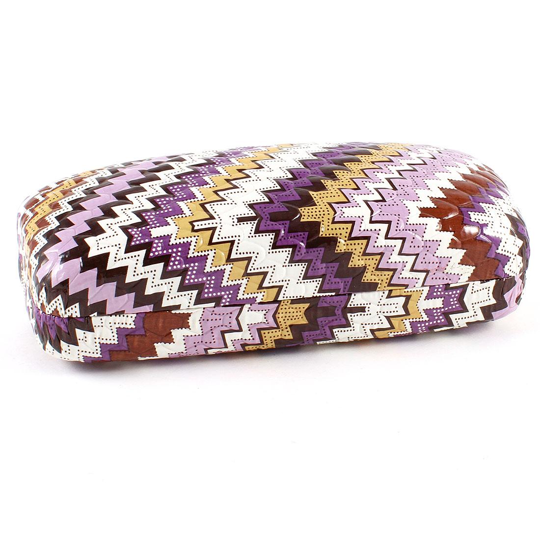 Light Purple White Leather Zig Zag Pattern Eyeglasses Spectacle Case