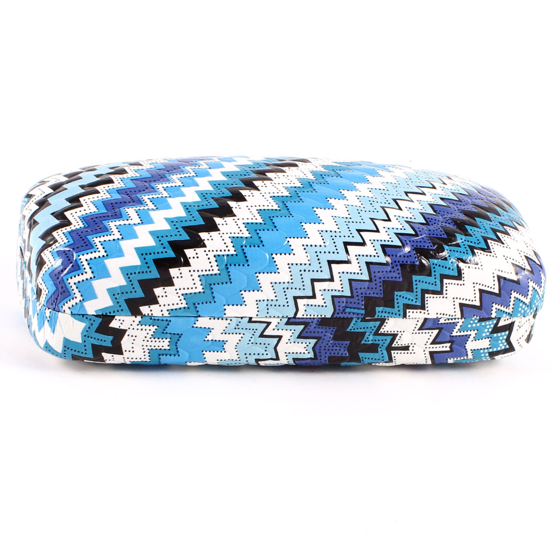 White Maya Blue Leather Zig Zag Pattern Eyeglasses Spectacle Case