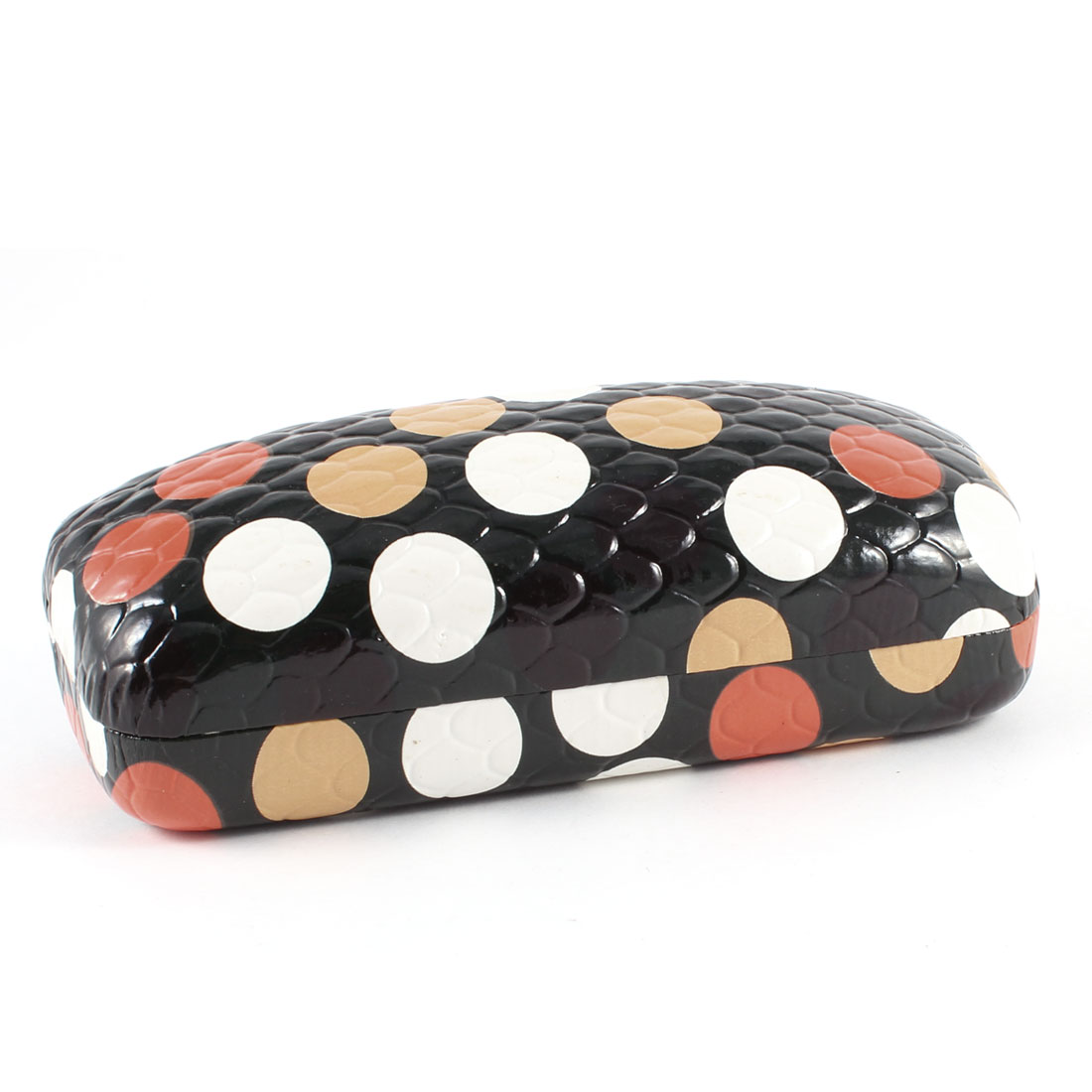 Spring Hinge Closure MultiColor Dot Print Flannel Lining Glasses Case Black