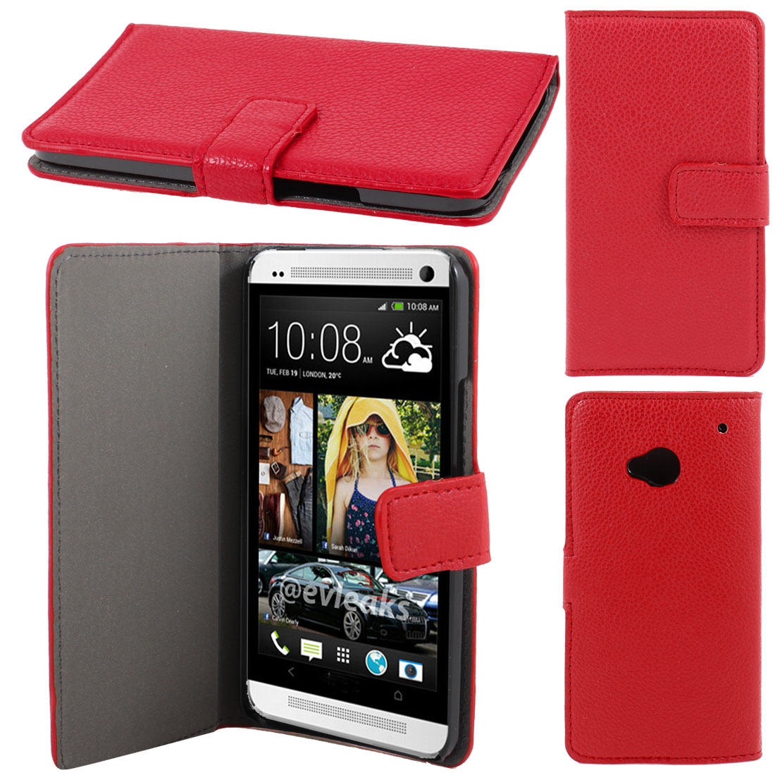 Red Faux Leather Litchi Print Magnetic Flip Case Cover Pouch for HTC one M7