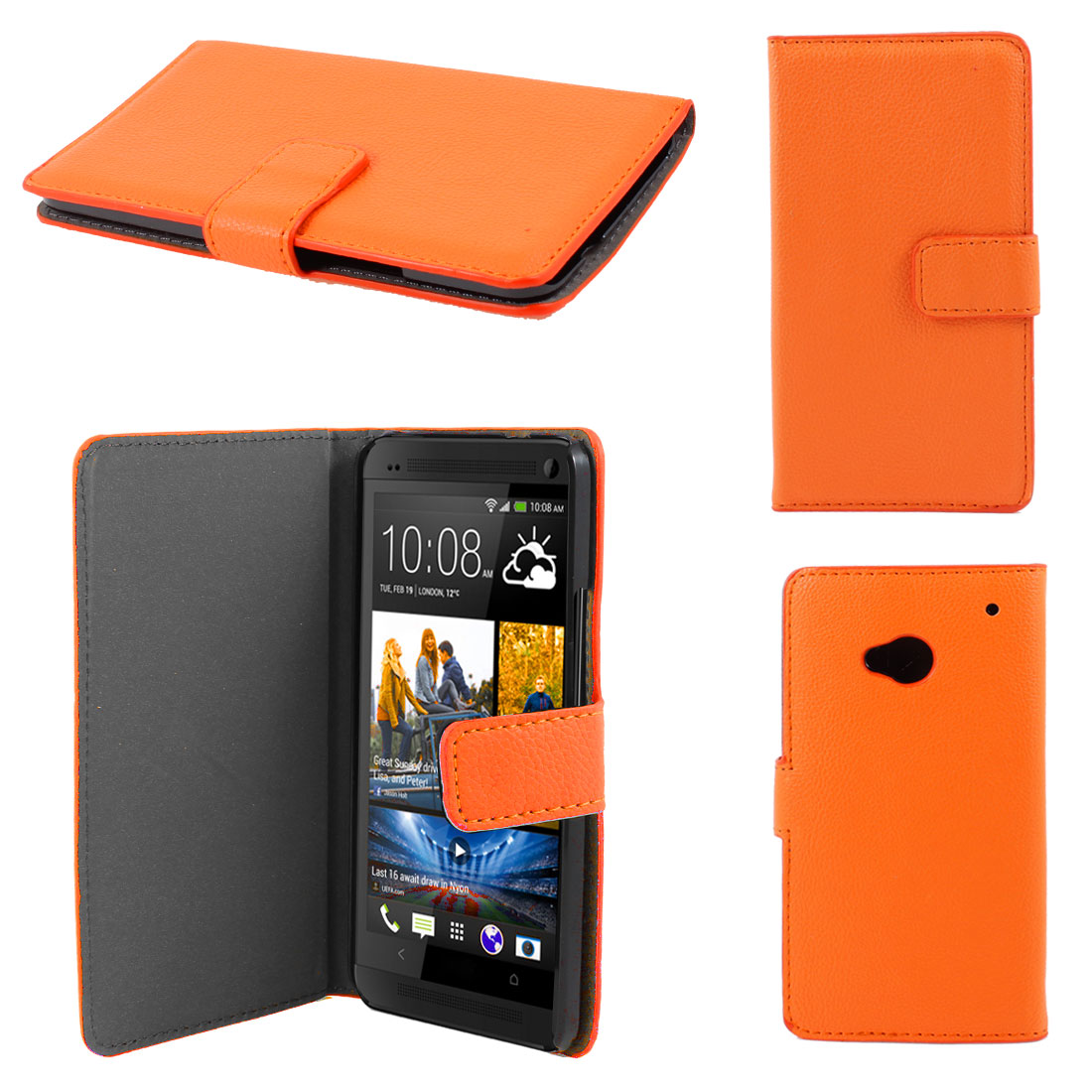Orange Faux Leather Litchi Print Magnetic Flip Case Cover Pouch for HTC one M7