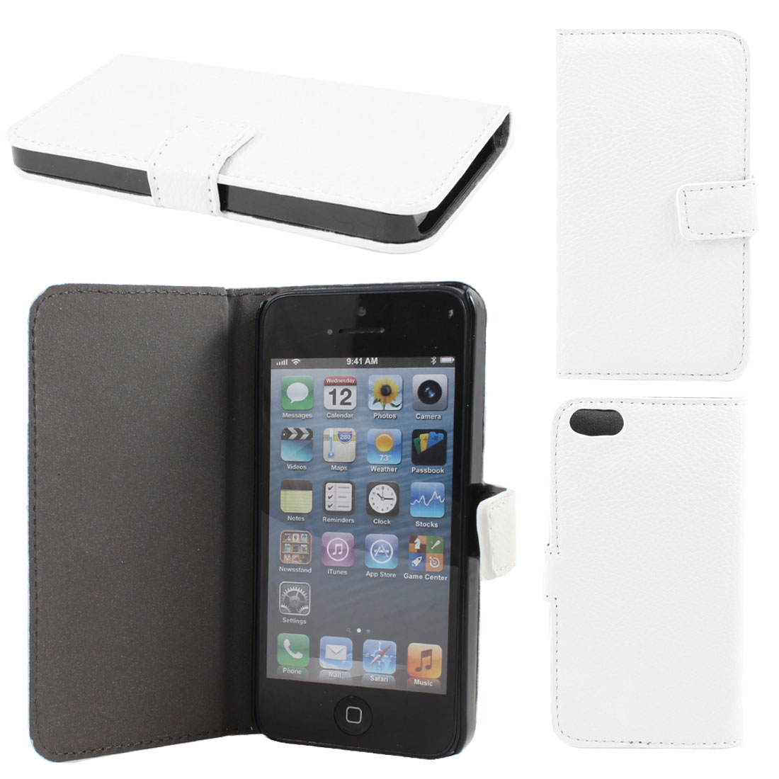 White Litchi Pattern Faux Leather Flip Case Cover for Apple iPhone 5 5G