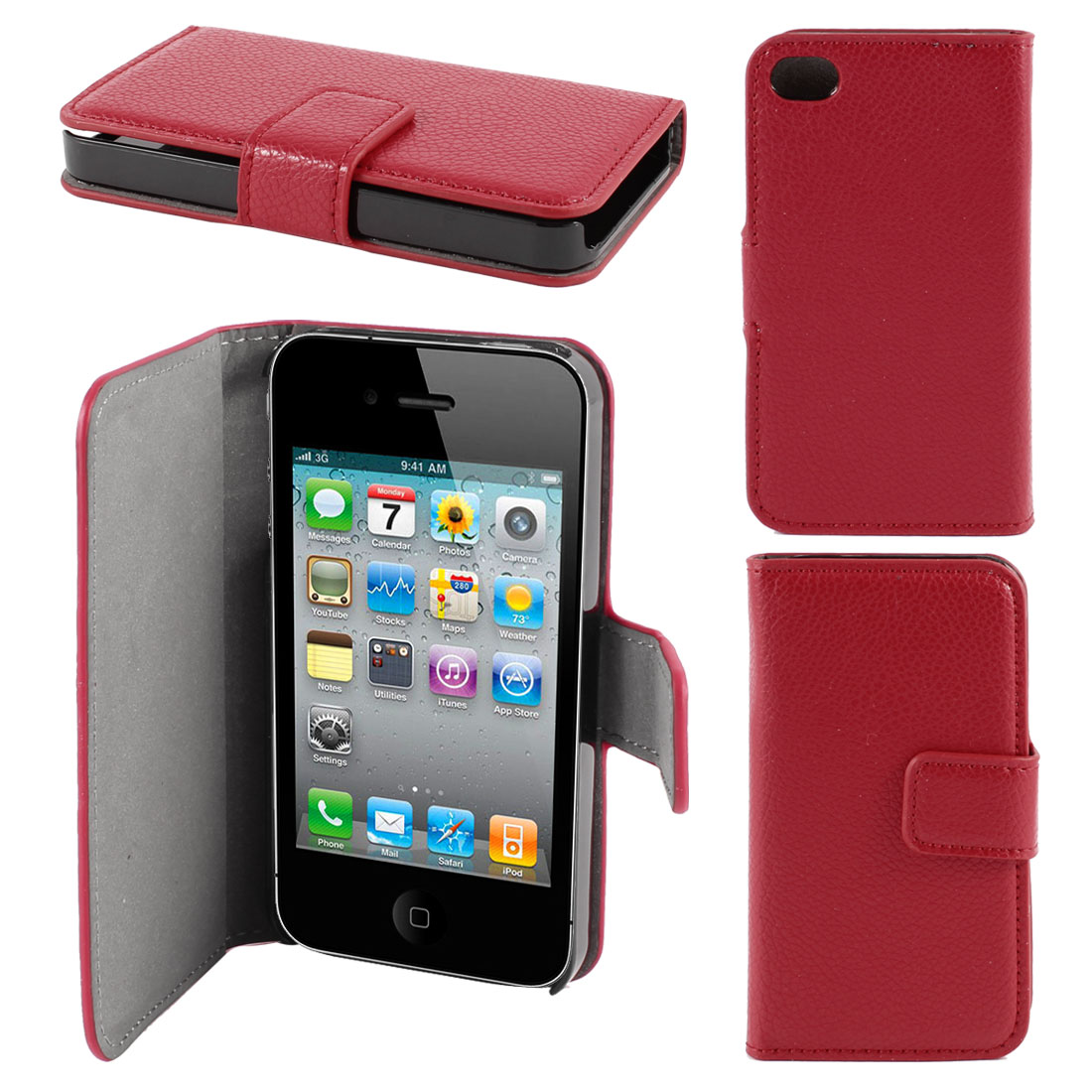 Dark Red Faux Leather Flap Case Cover Pouch Shell for Apple iPhone 4 4G 4th Gen