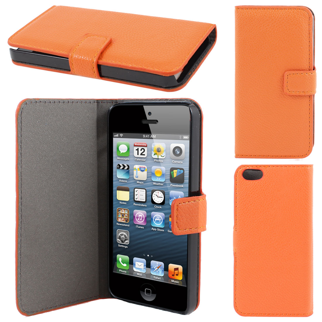 Orange Litchi Pattern Faux Leather Flip Case Cover for Apple iPhone 5 5G